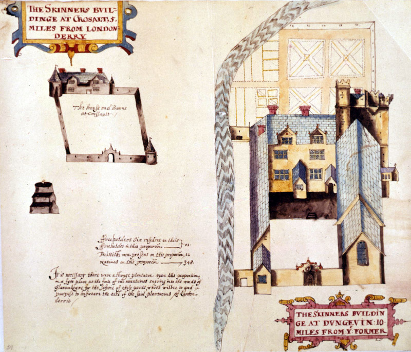 Raven's map of the Skinners' buildings at Dungiven 1622