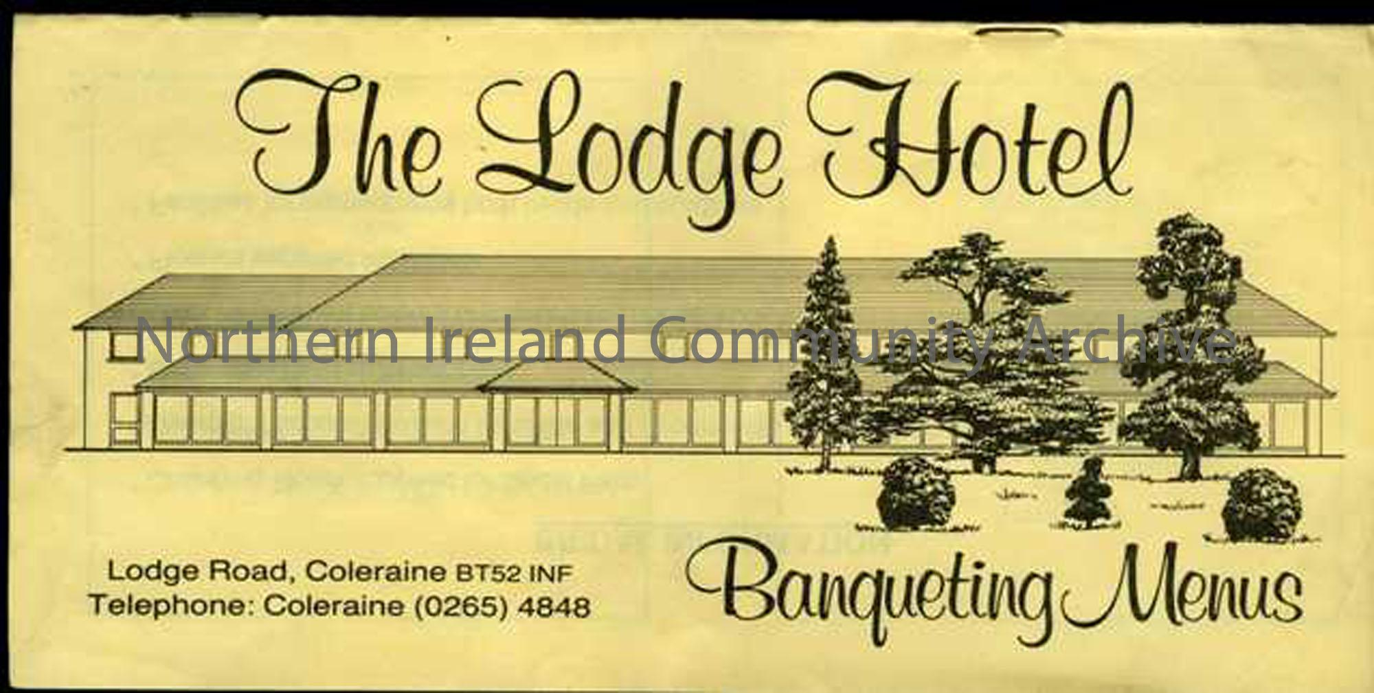 Menu for the Lodge Hotel, Coleraine