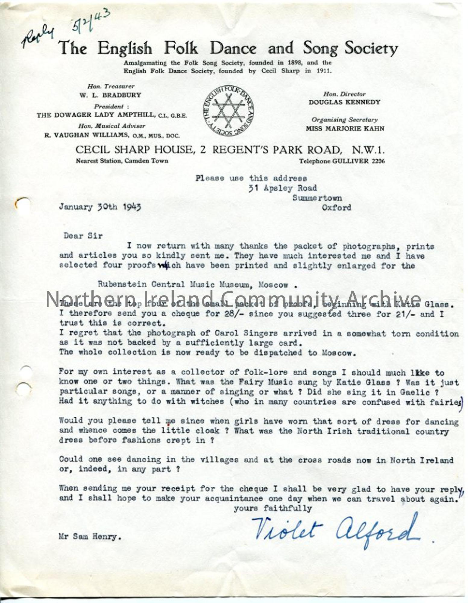 Letter from Violed Alford, 30.1.1943