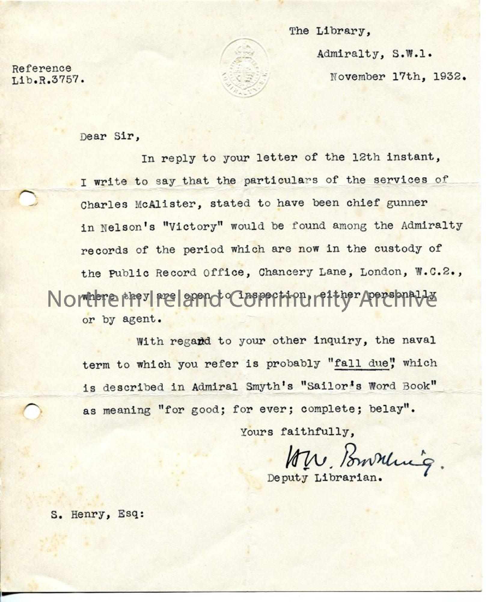 Letter from H. W. Browning, 17.11.1932