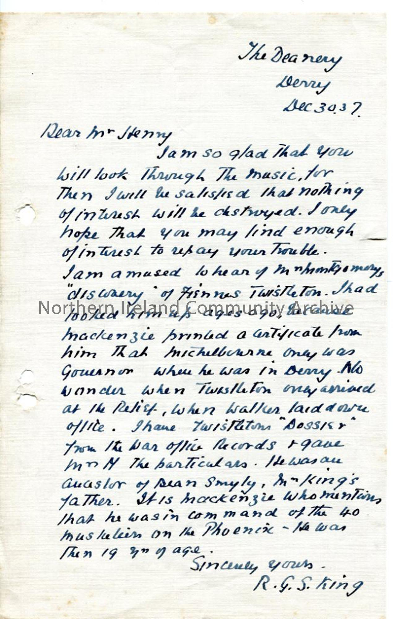 Letter from R. G. S. King, 30.12.1937