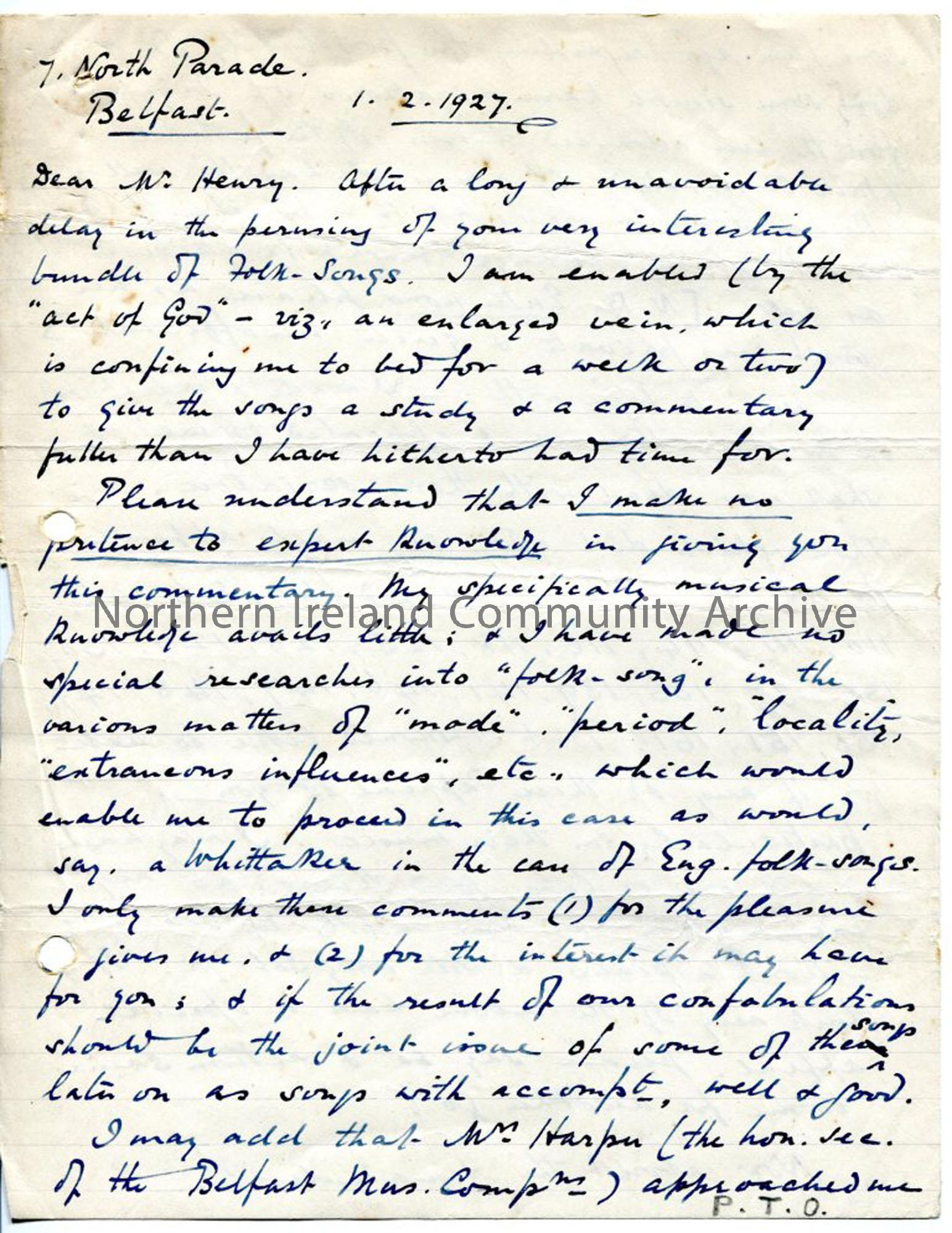 Page 1 of 12, letter from Norman Hay, 1.2.1927