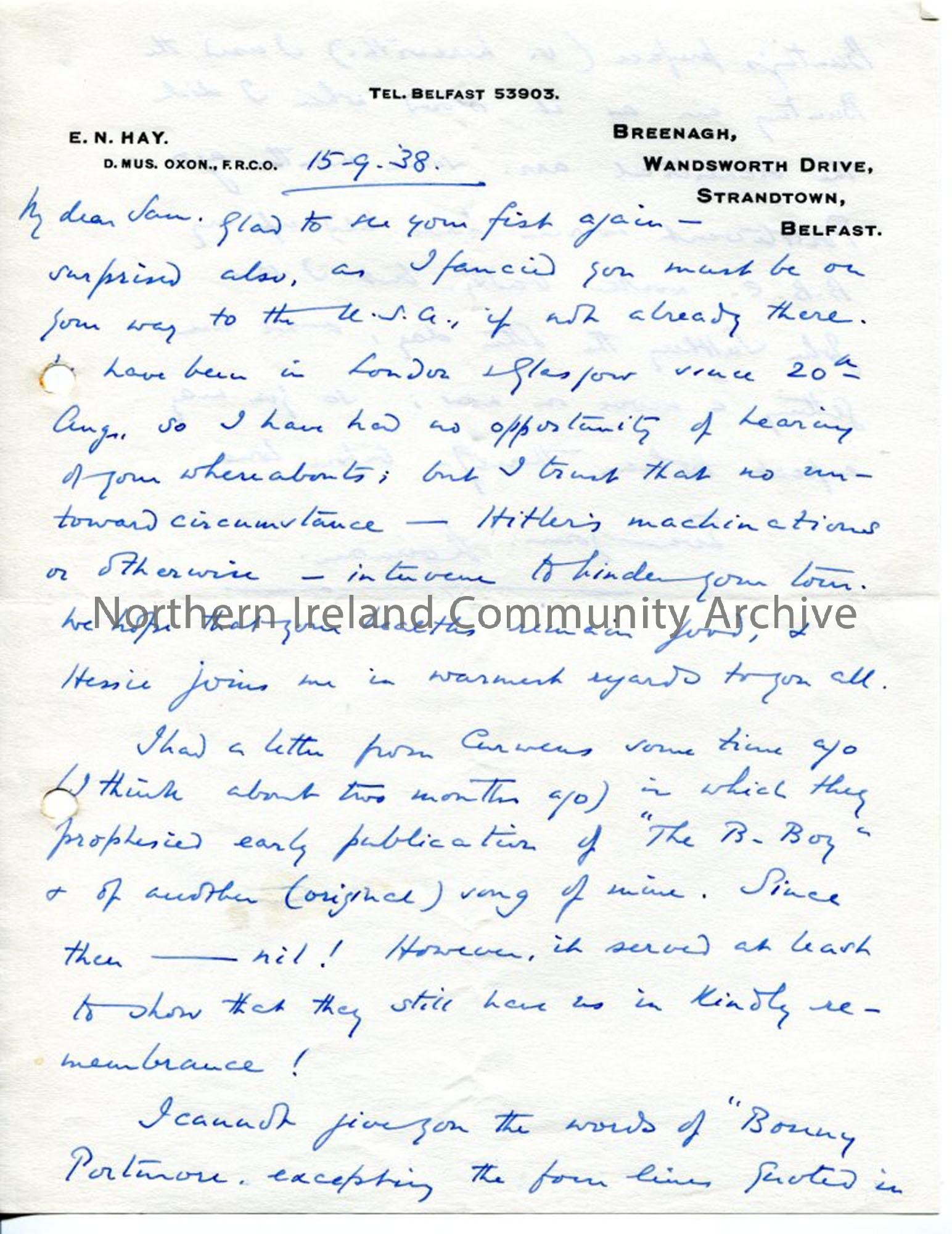 Page 1 of 2 – Letter from Norman Hay, 15.9.1938