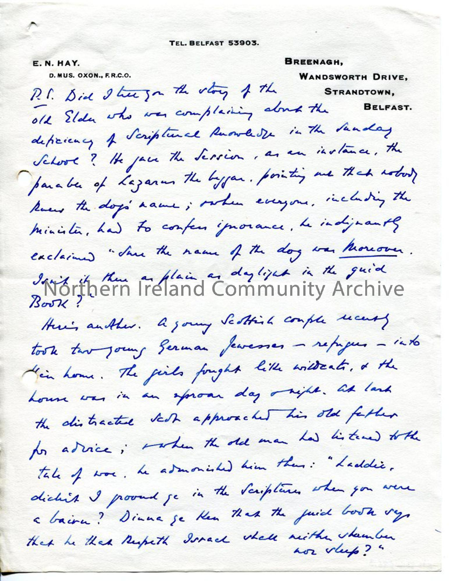 Page 5 of 5, Letter from Norman Hay, 25.6.1939