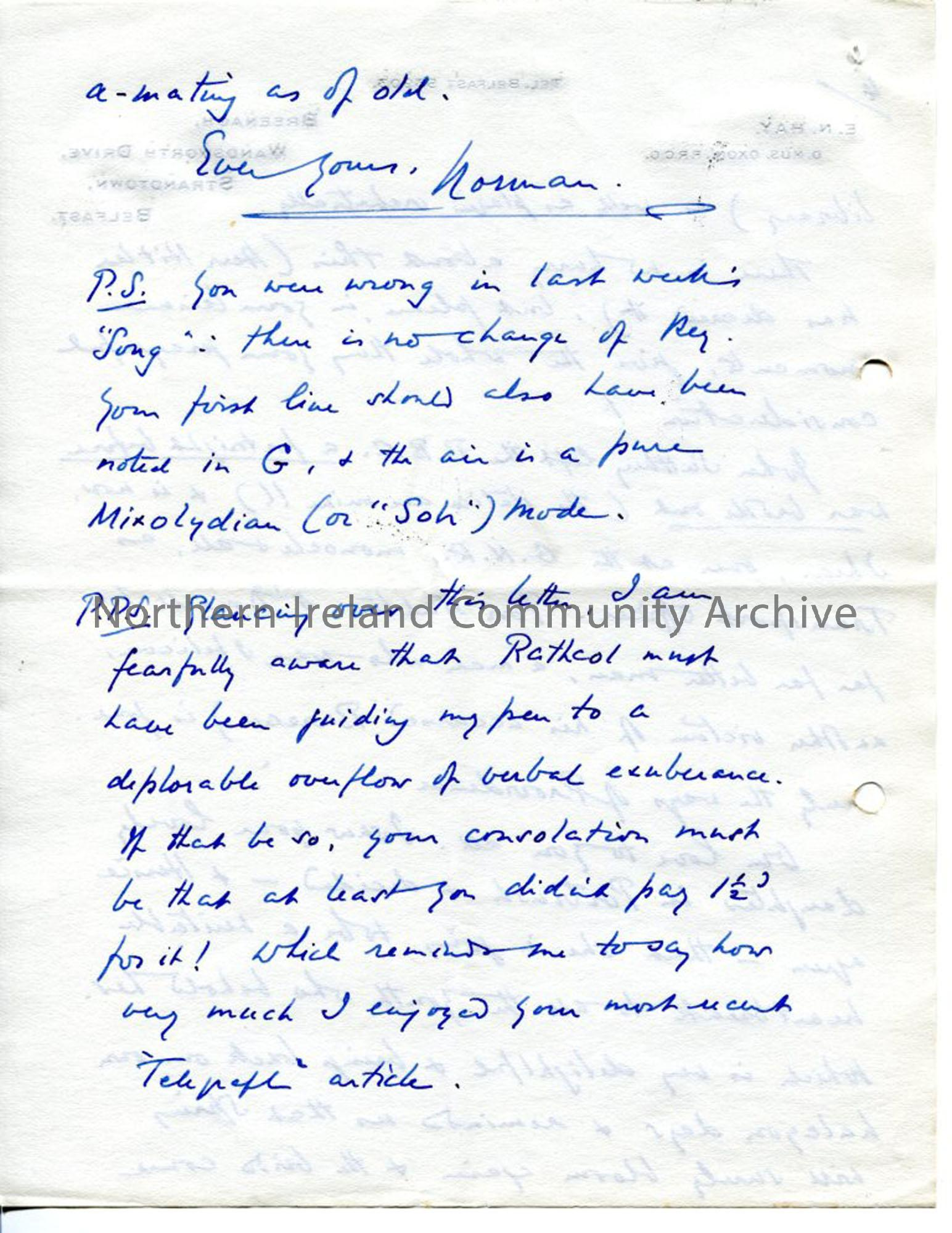 Page 8 of 8 – Letter from Norman Hay, 27.9.1939