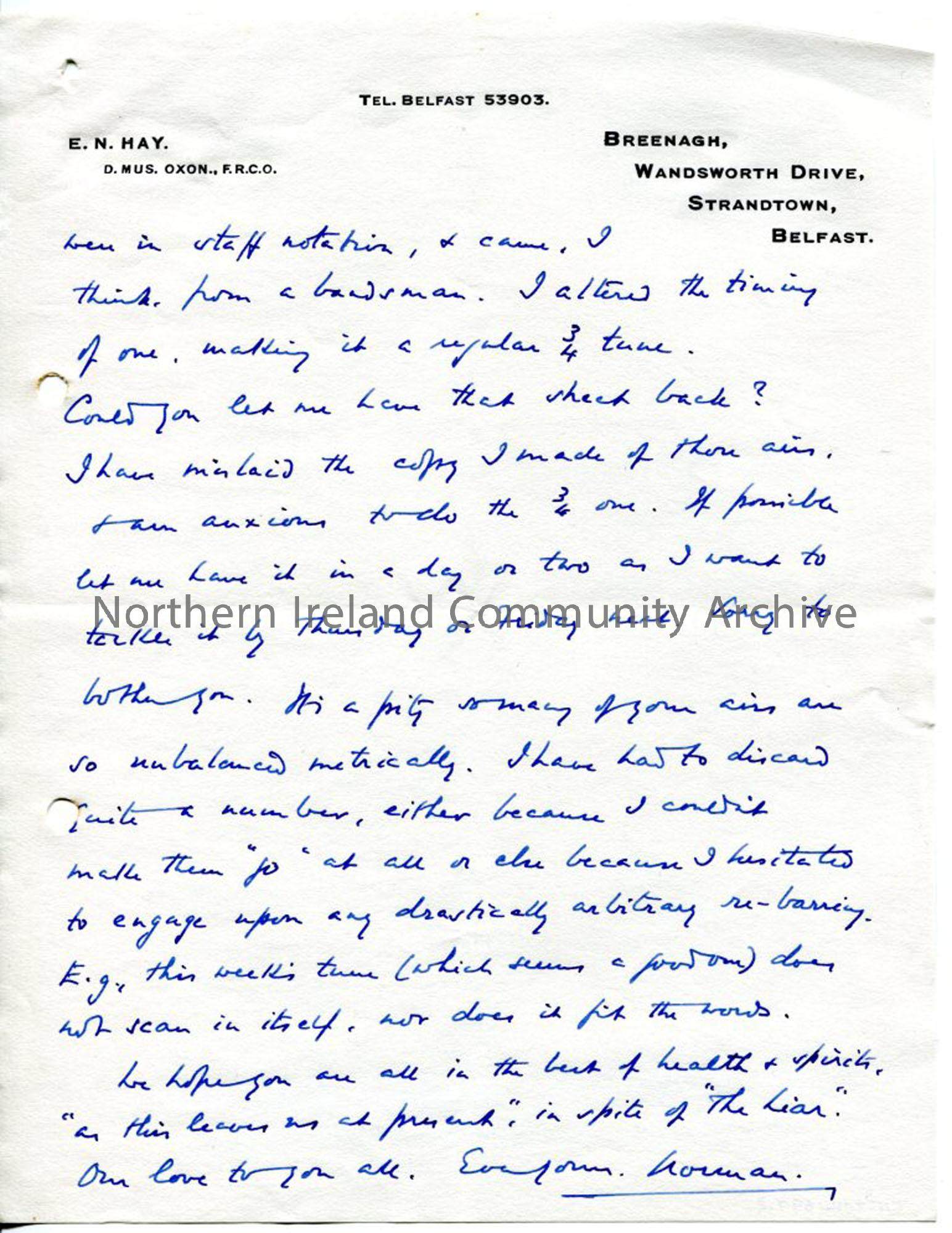 Page 3 of 3 – Letter from Norman Hay, no date recorded