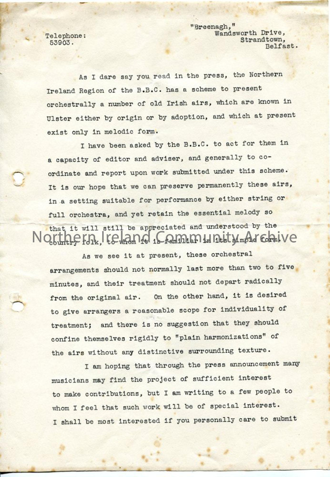 Page 1 of 2 – Typed letter from Norman Hay, no date recorded