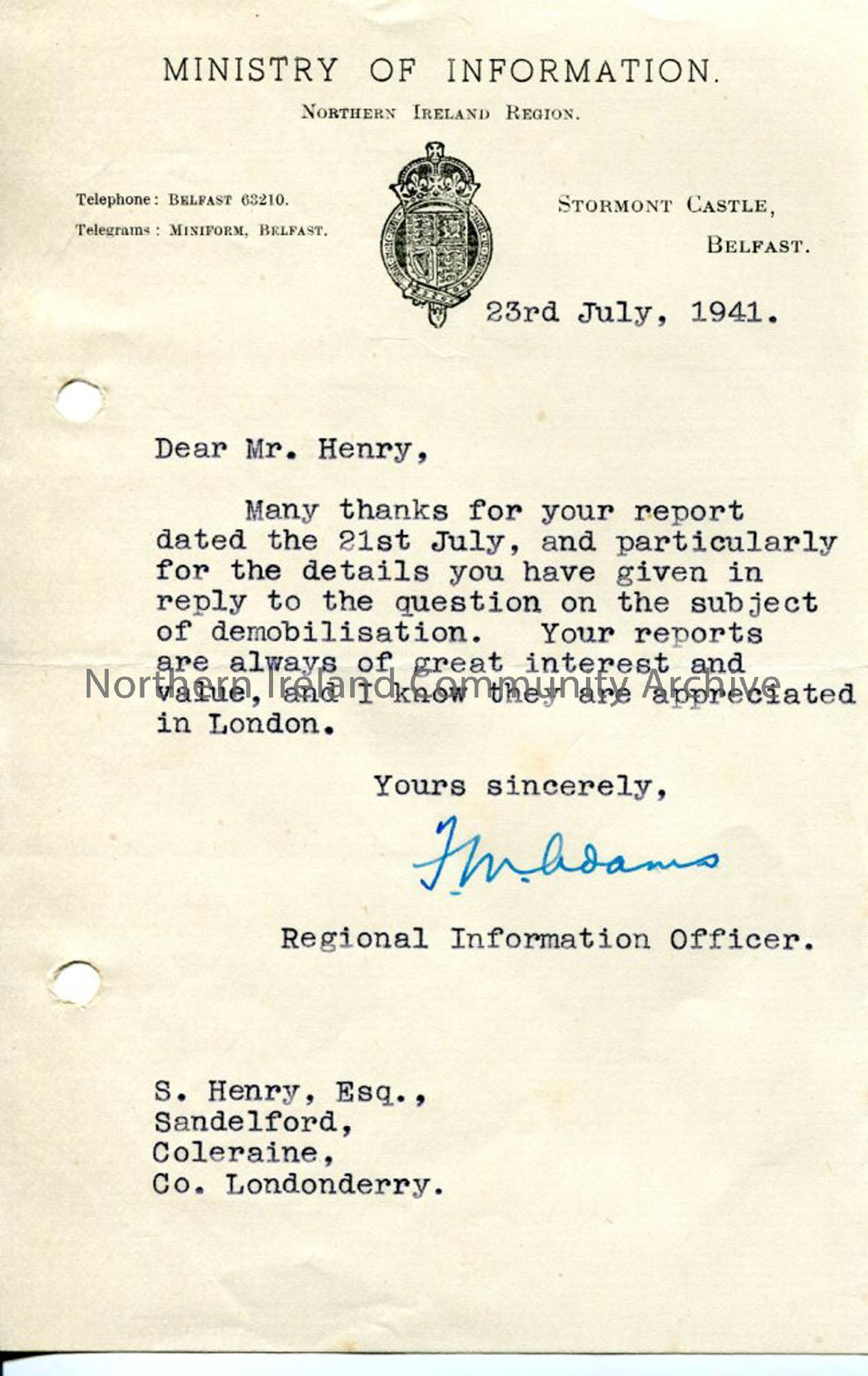 Letter from Ministry of Information to Sam Henry