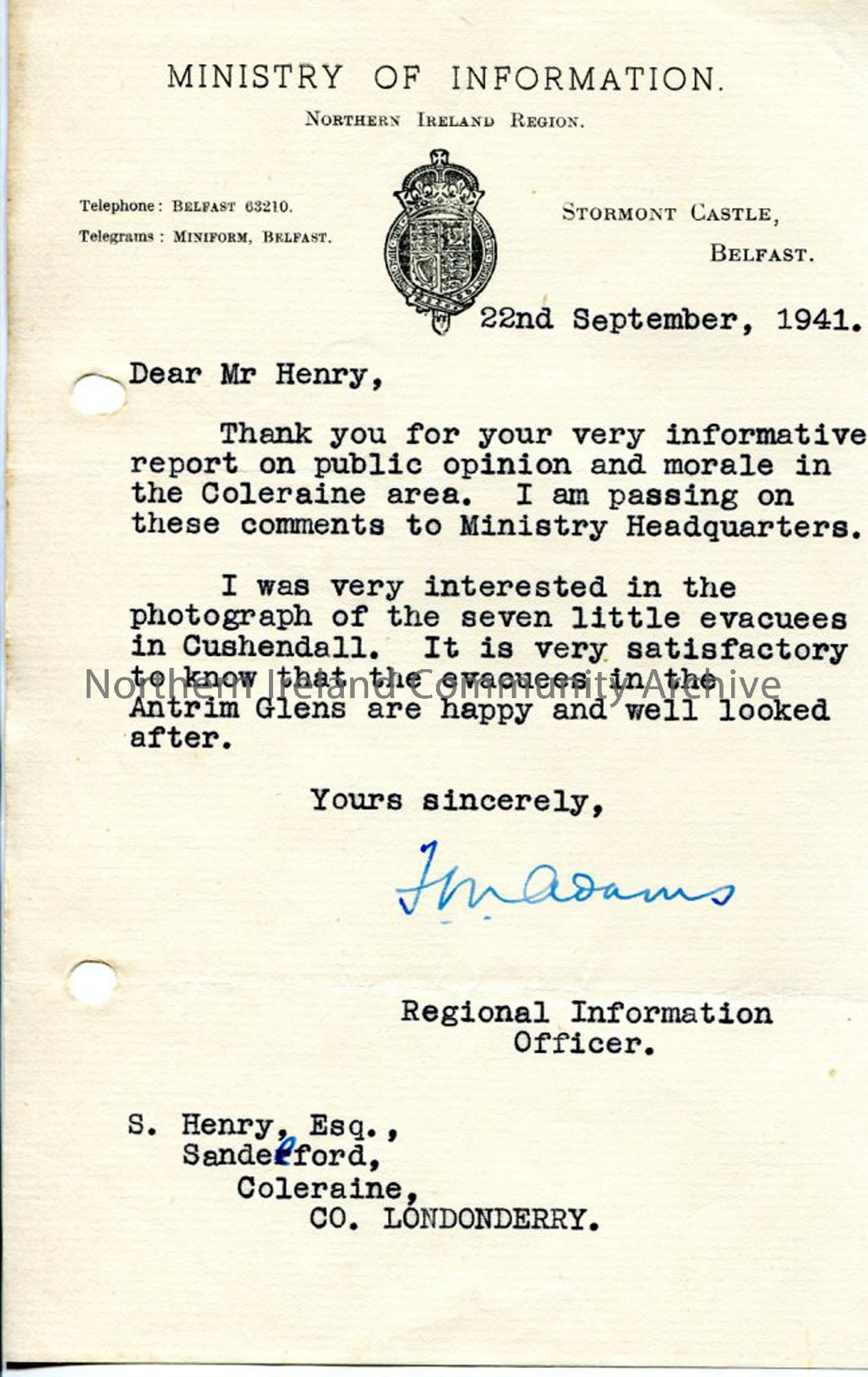 Letter from Ministry of Information to Sam Henry (5217)