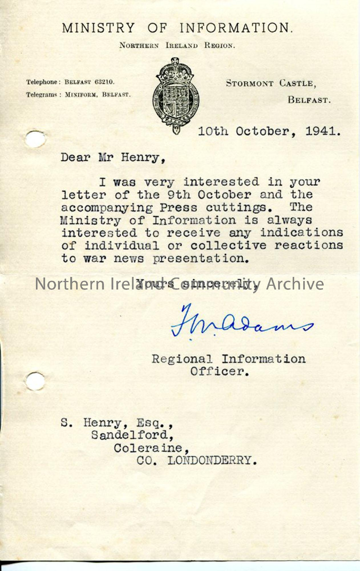 Letter from Ministry of Information to Sam Henry (3267)