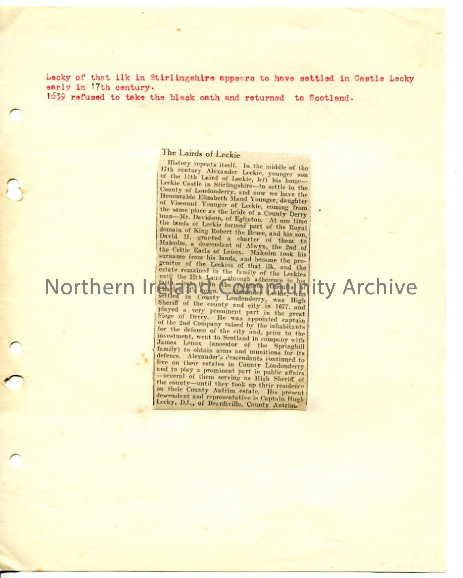 Newspaper cutting and typed page re Leckie family