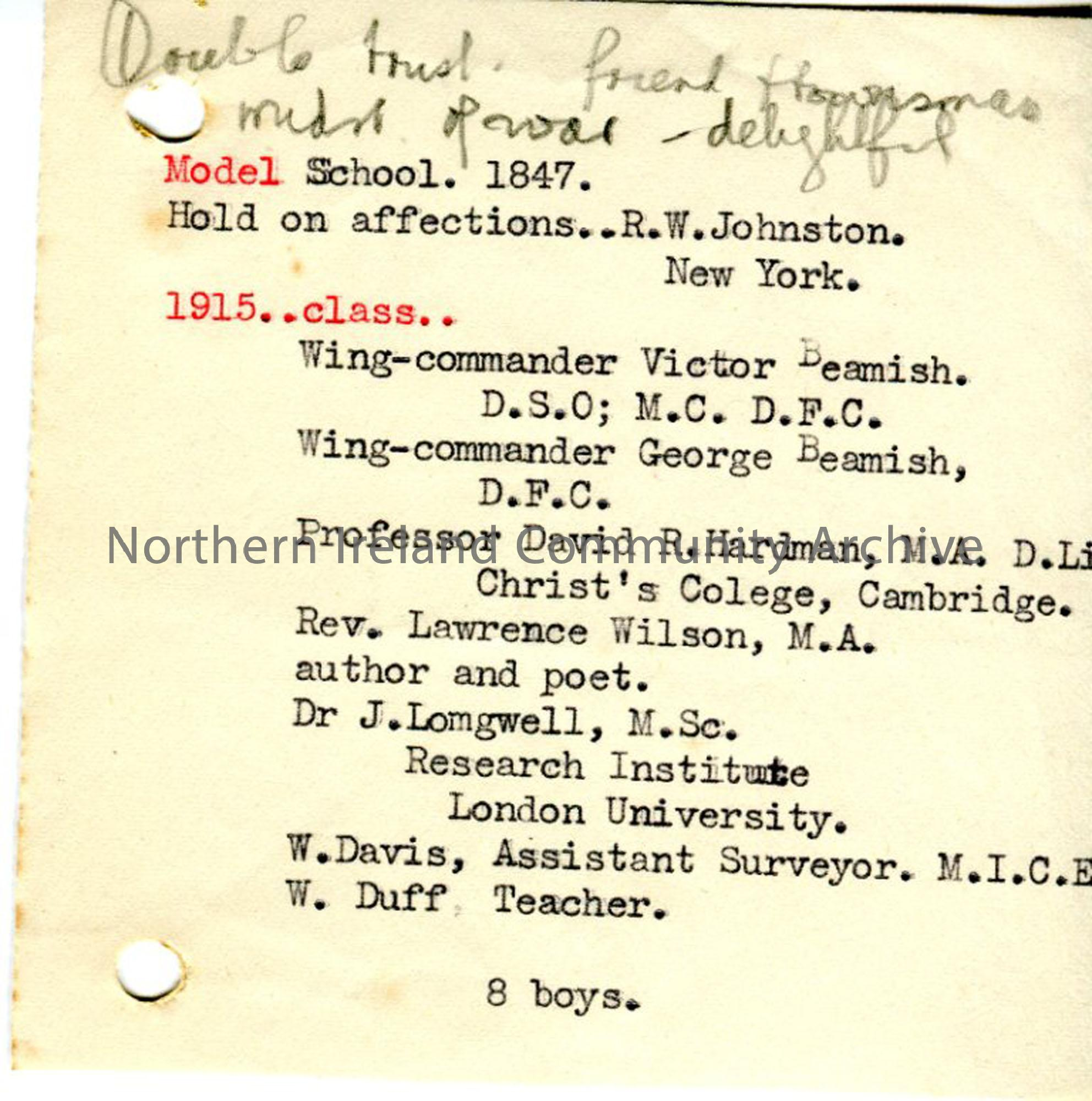 Typed notes- '1915 ..class' military personnel