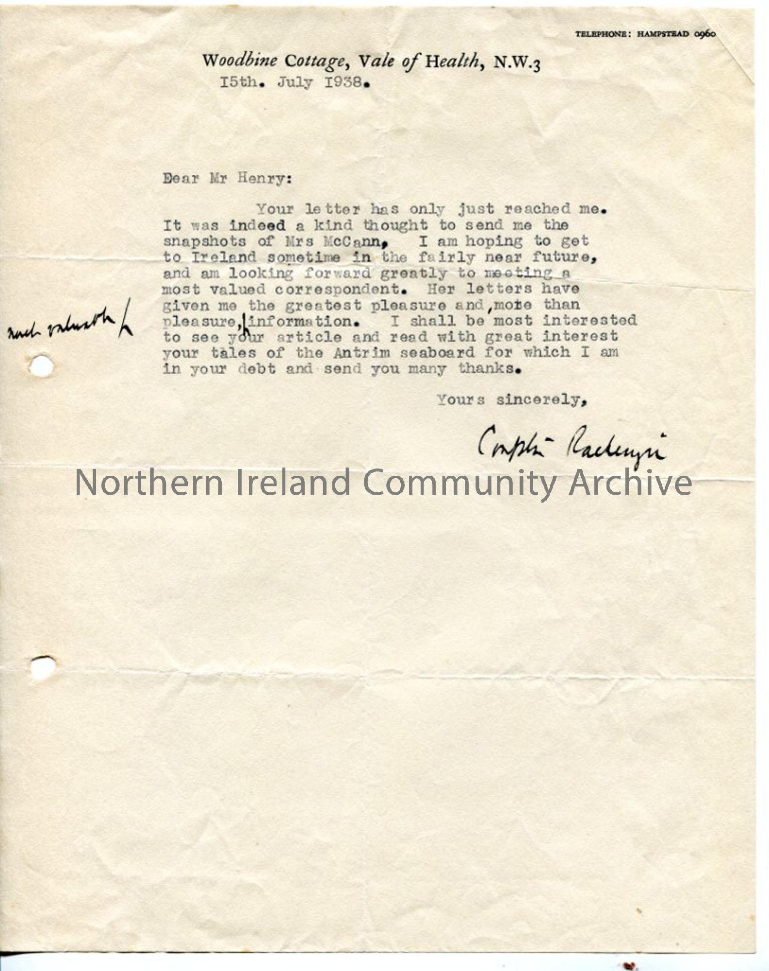 Typed letter from Compton Mackenzie
