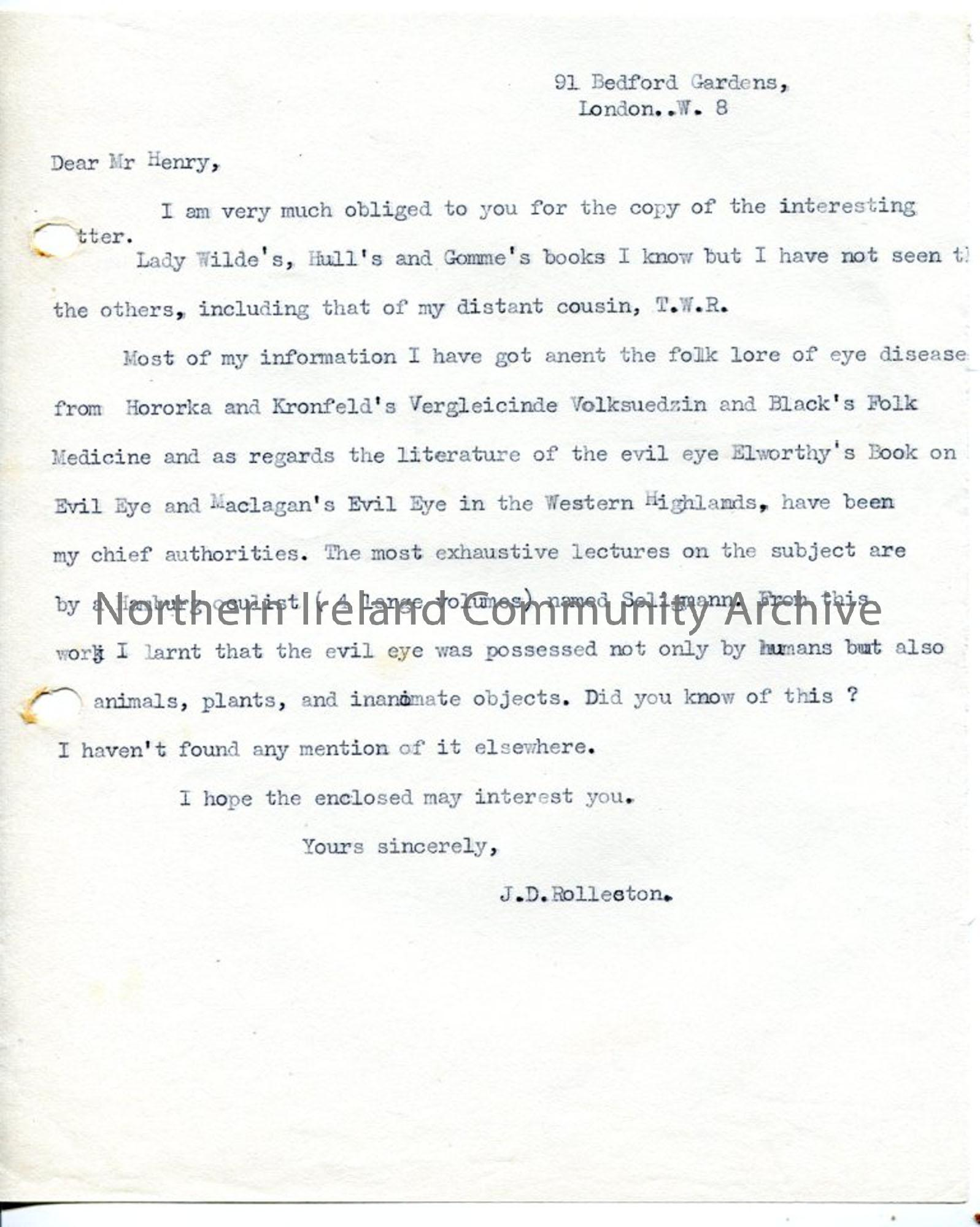 Typed letter from J.D Rolleston to Sam Henry