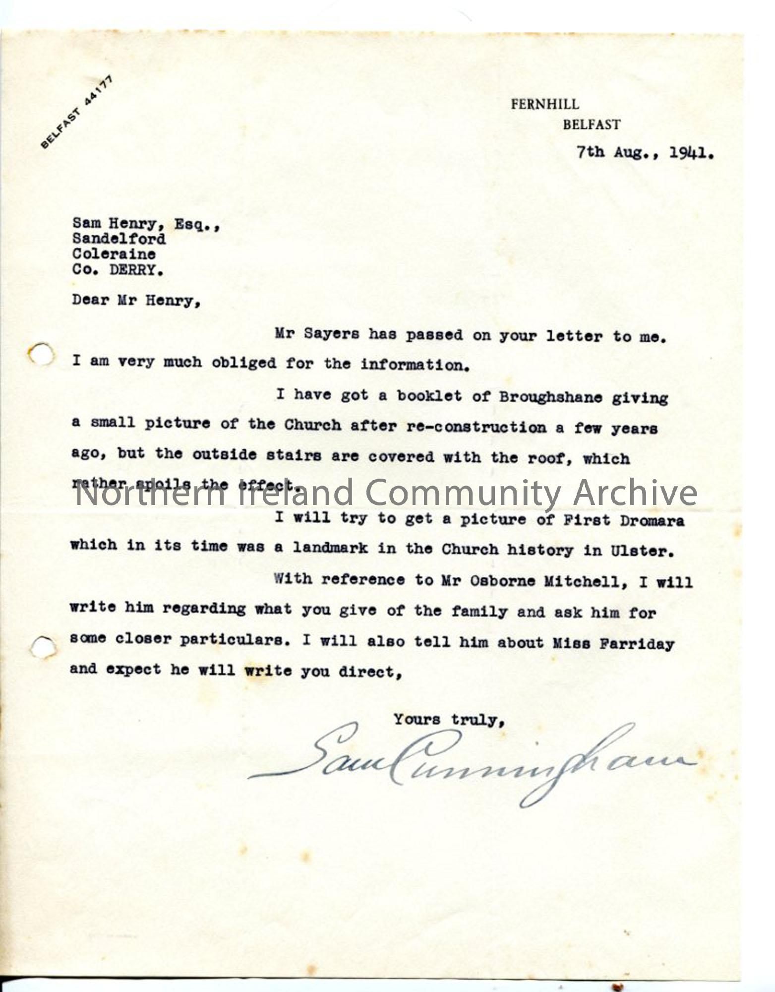 Letter re Broughshane and Dromara churches
