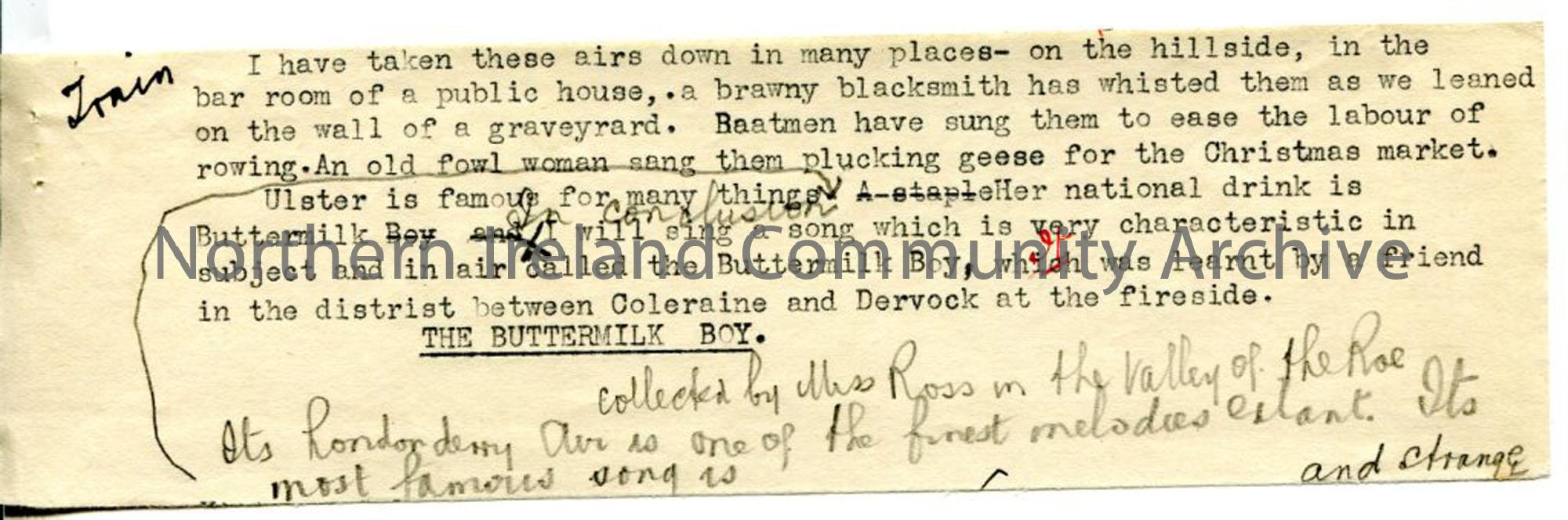 Page 6 of 6: 'Folk Recital. Belfast Broadcasting Station, 25th May 1925'