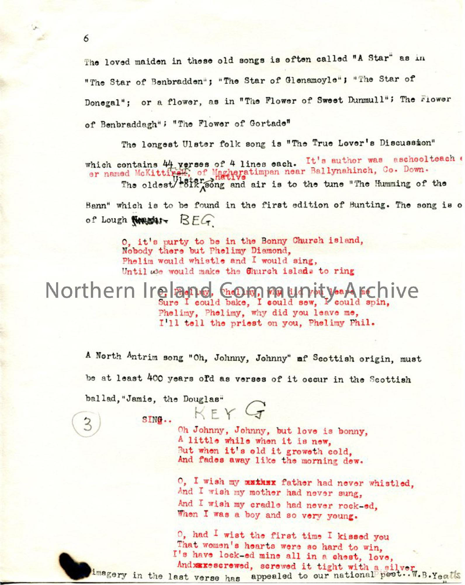 Page 6 of 7: 'Love Songs'  'Ulster's Heritage of Song'