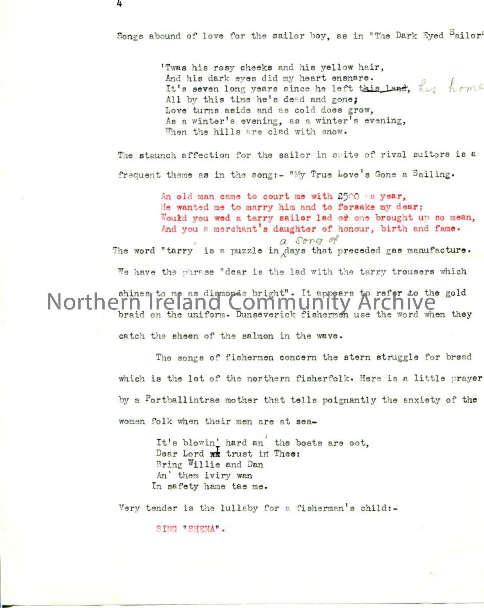 Page 4 of 7: Typed script 'Songs of the Sea'