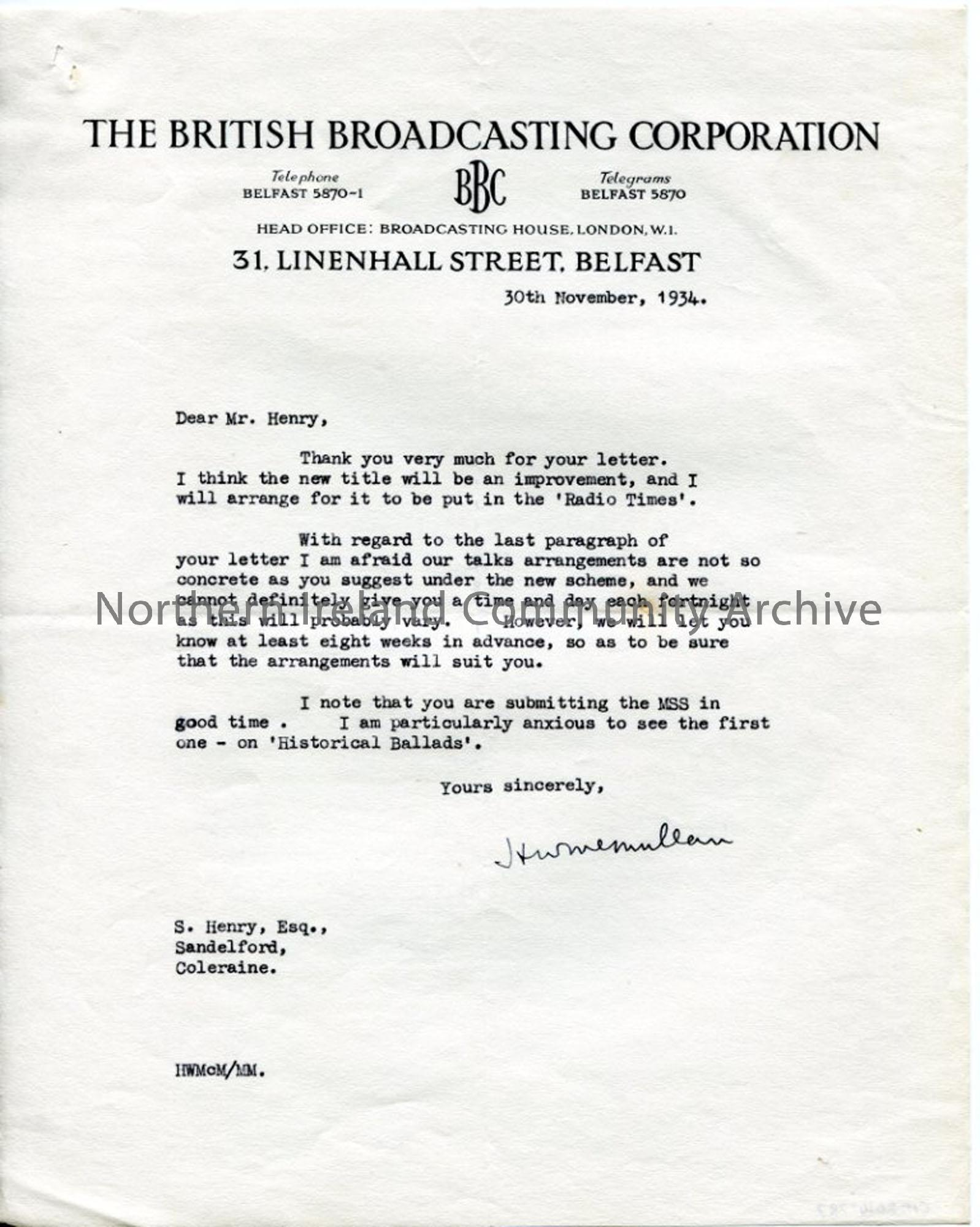Letter from BBC re Ulster's Heritage of Song title