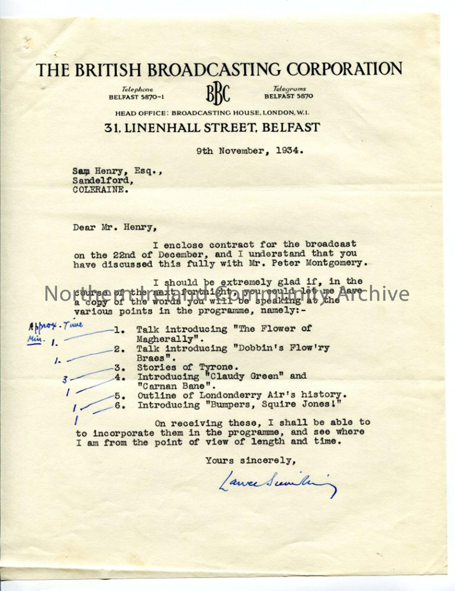Letter from Lance Sieveking of the BBC, dated 9.11.1934