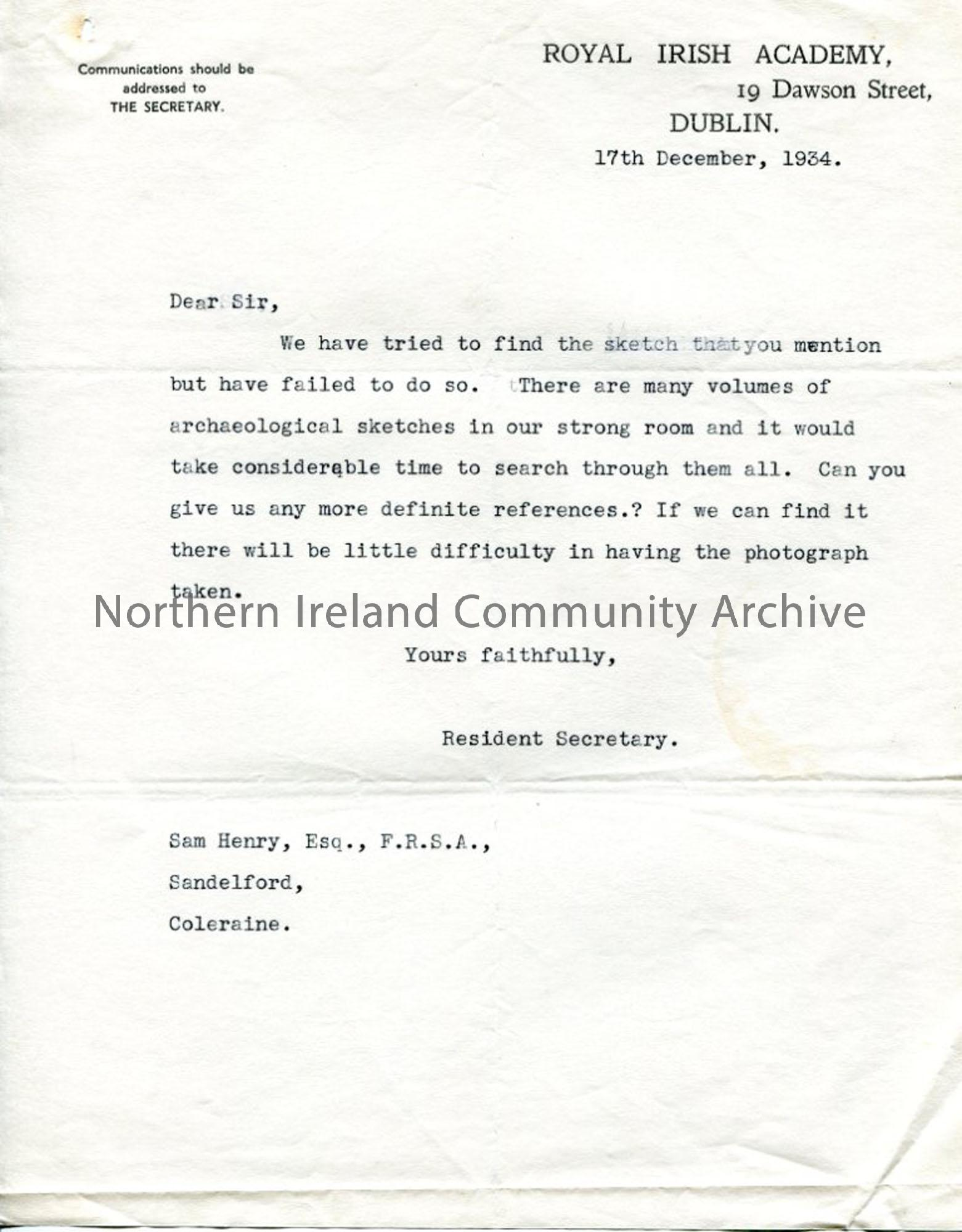 Letter on Royal Irish Academy headed paper, dated 17.12.1934