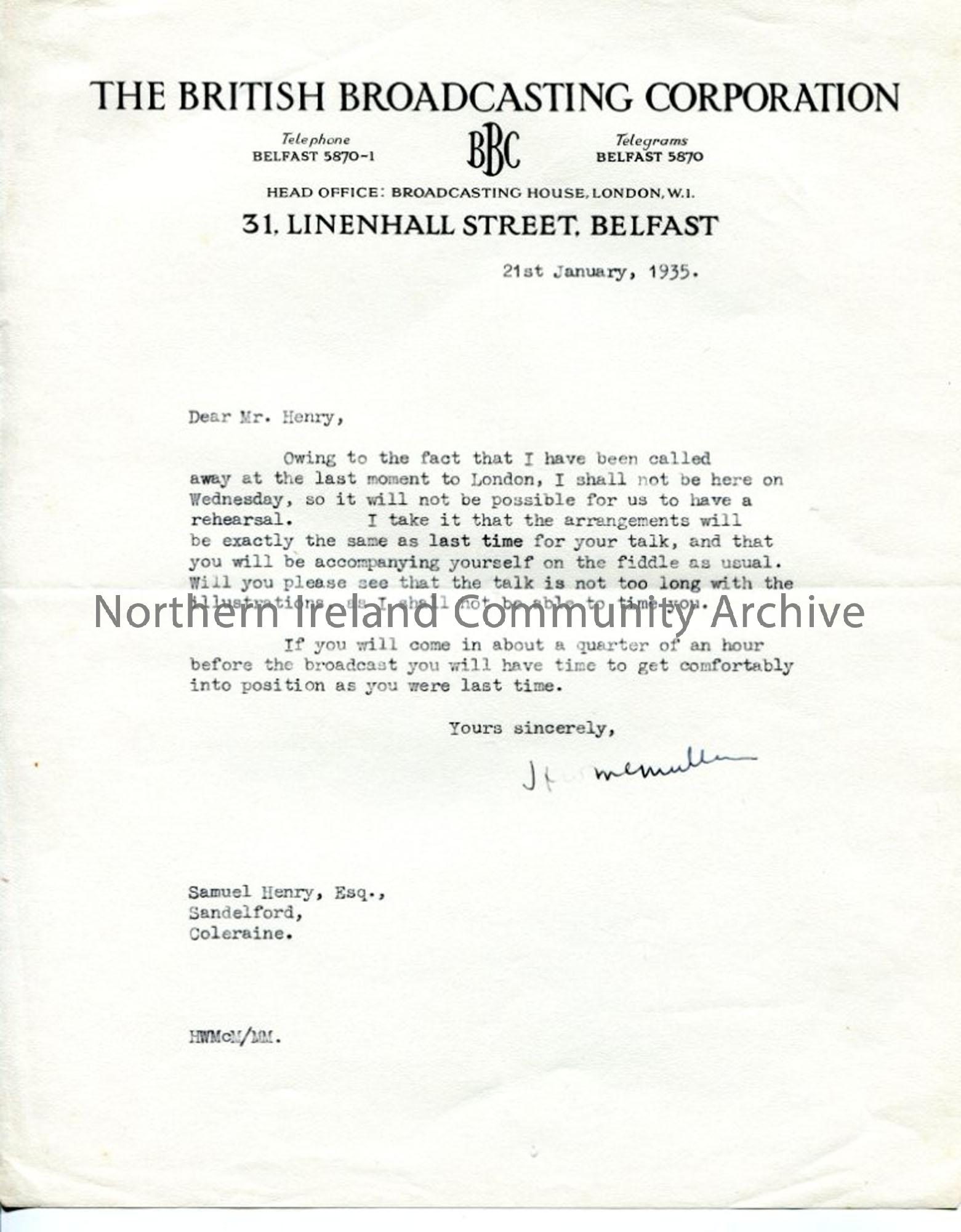 Letter from H W McMullan, dated 21.1.1935