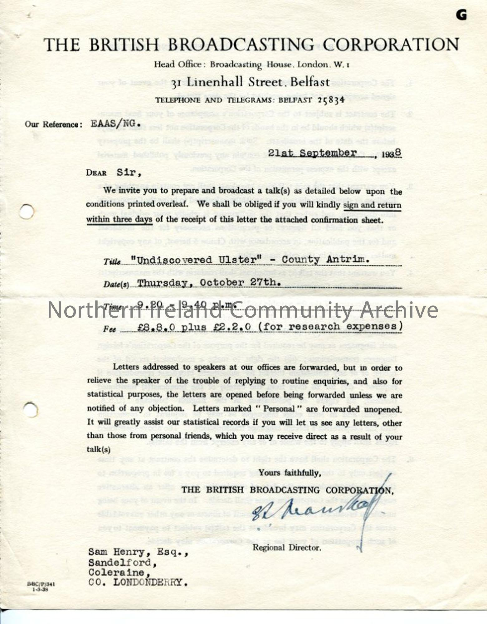 Formal Agreement from the BBC, dated 21.9.1938