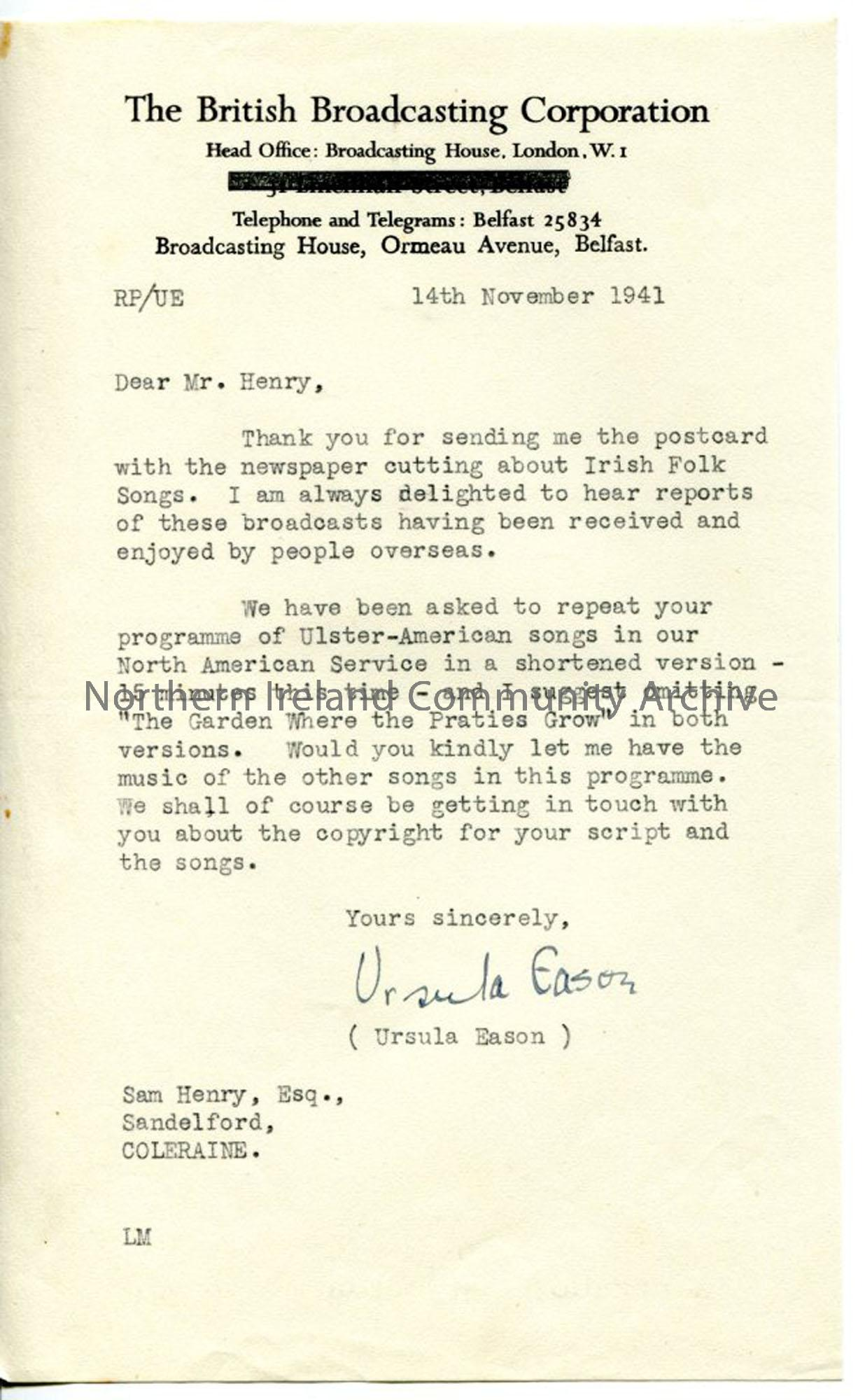 Letter from Ursula Eason, dated 14.11.1941