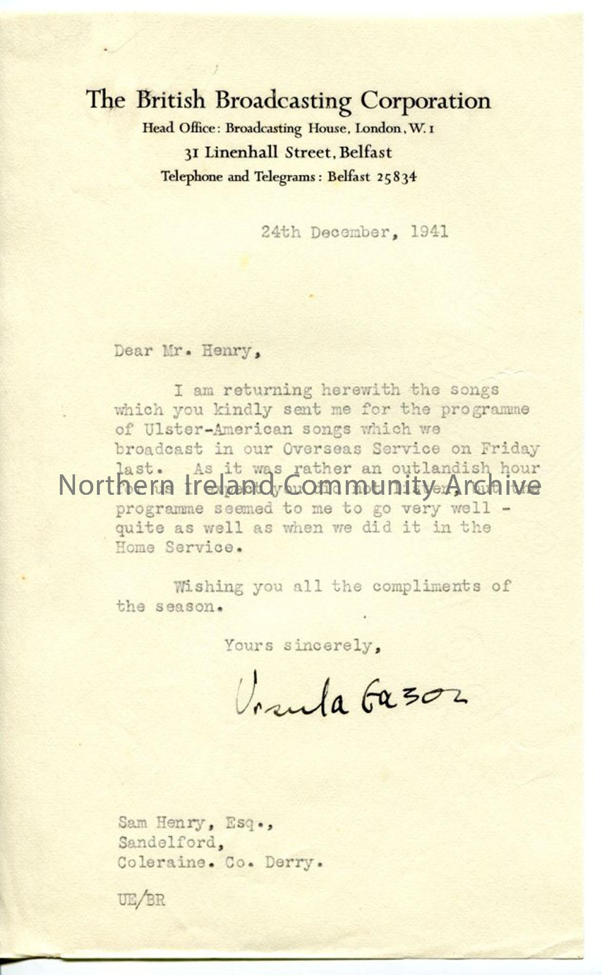 Letter from Ursula Eason, dated 24.12.1941