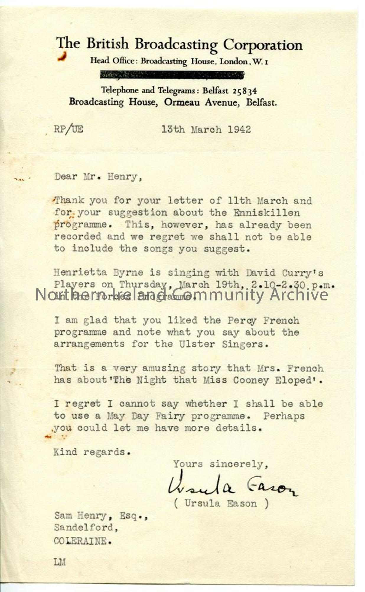 Letter from Ursula Eason, dated 13.3.1942