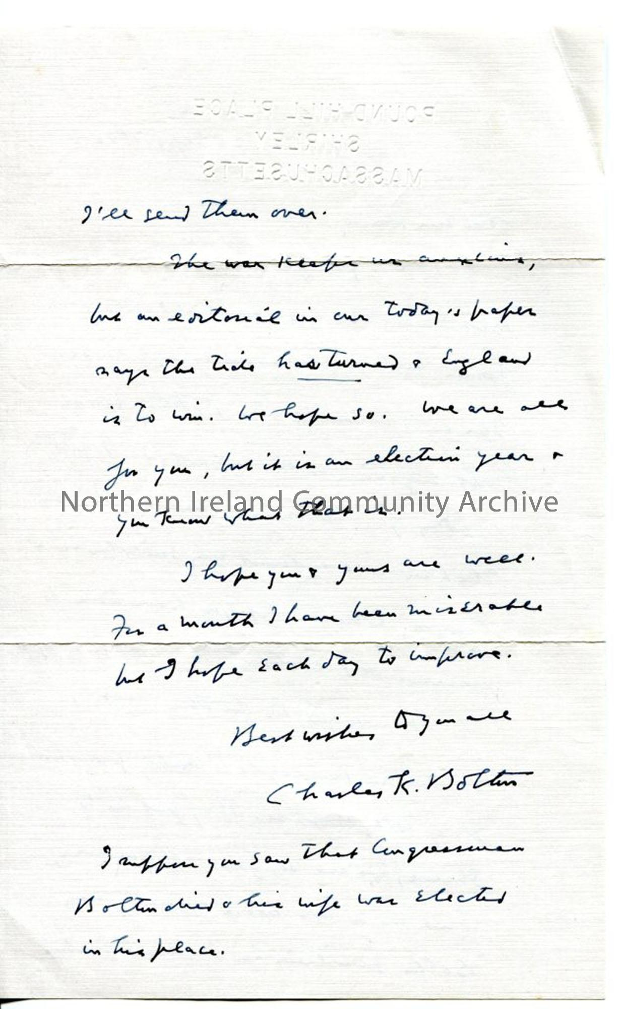 Page 2 of 2: Letter from Charles K Bolton, dated 25.9.1940