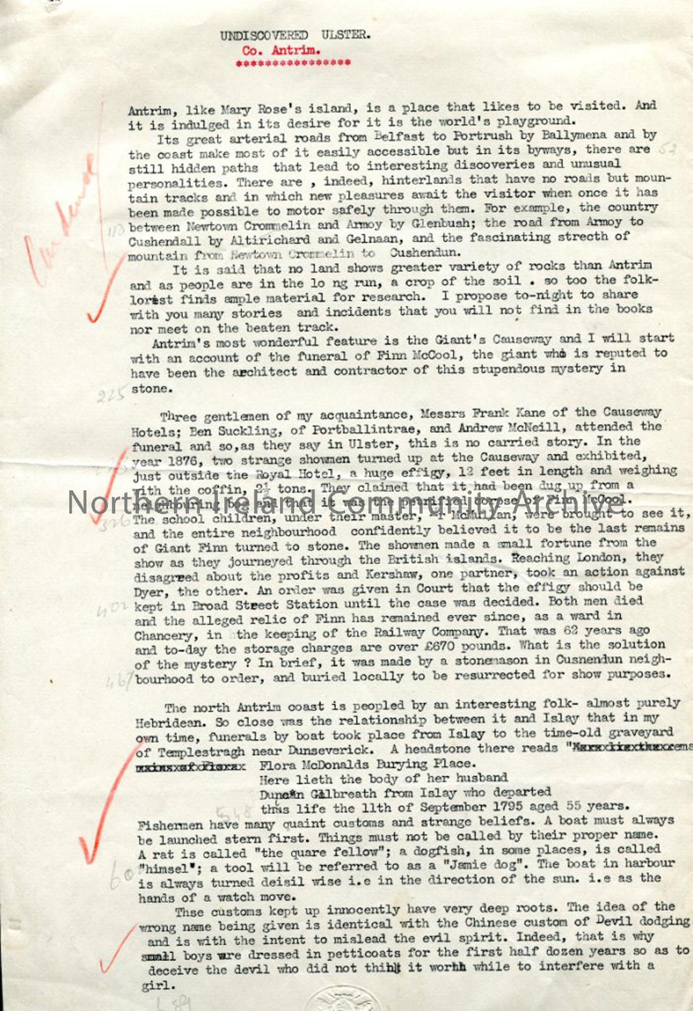 Page 1 of 13 – Script – 'Undiscovered Ulster – Co. Antrim'