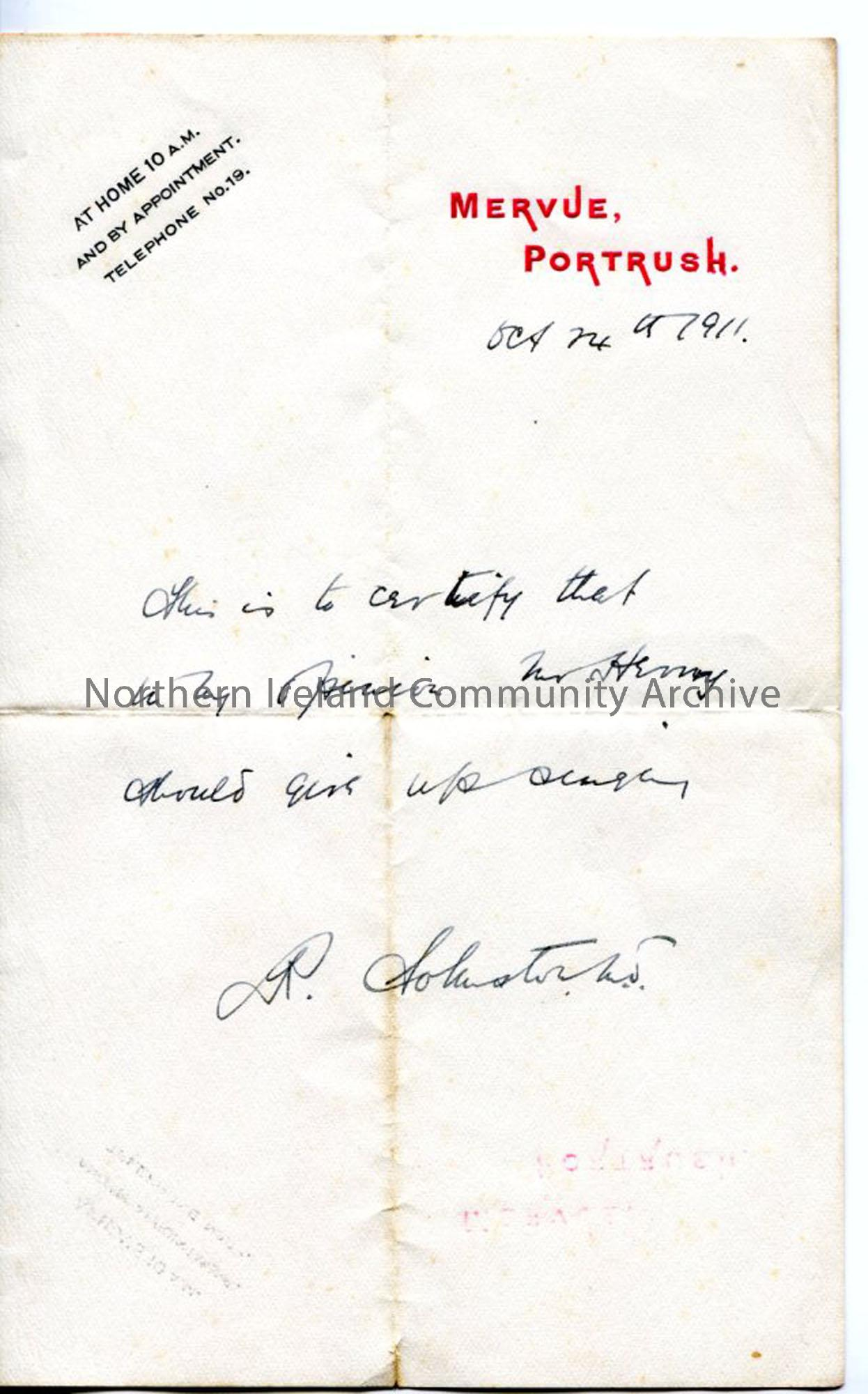 Letter from Dr R Johnston, dated 14.10.1911