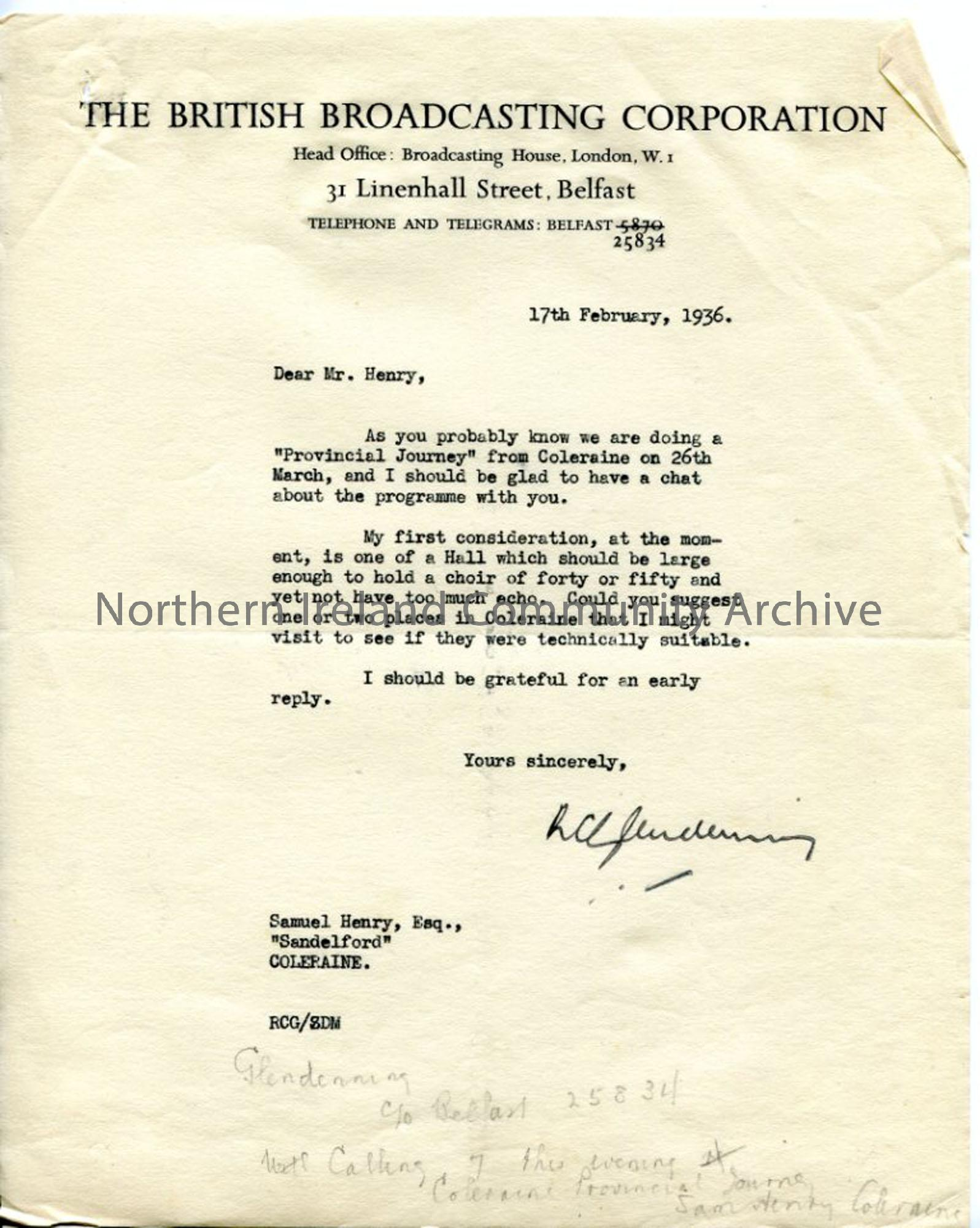 Letter from R C Glendenning of the BBC, dated 17.2.1936