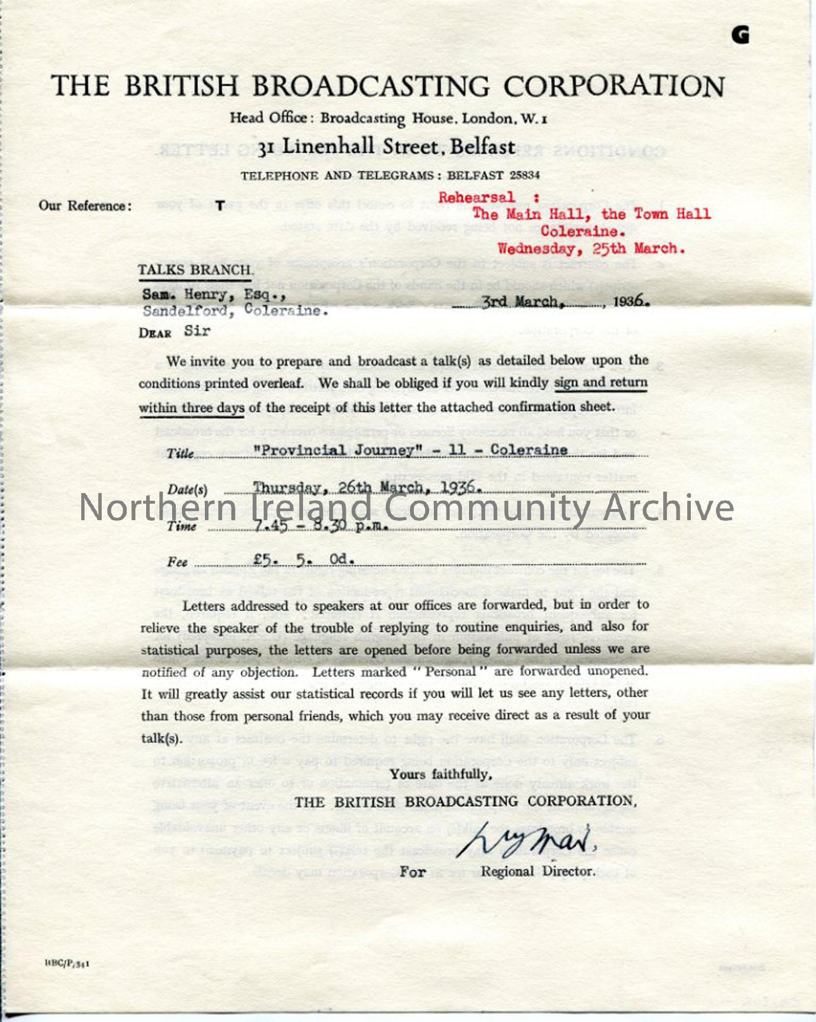 Letter/Contract from the Regional Director of the BBC, dated 3.3.1936