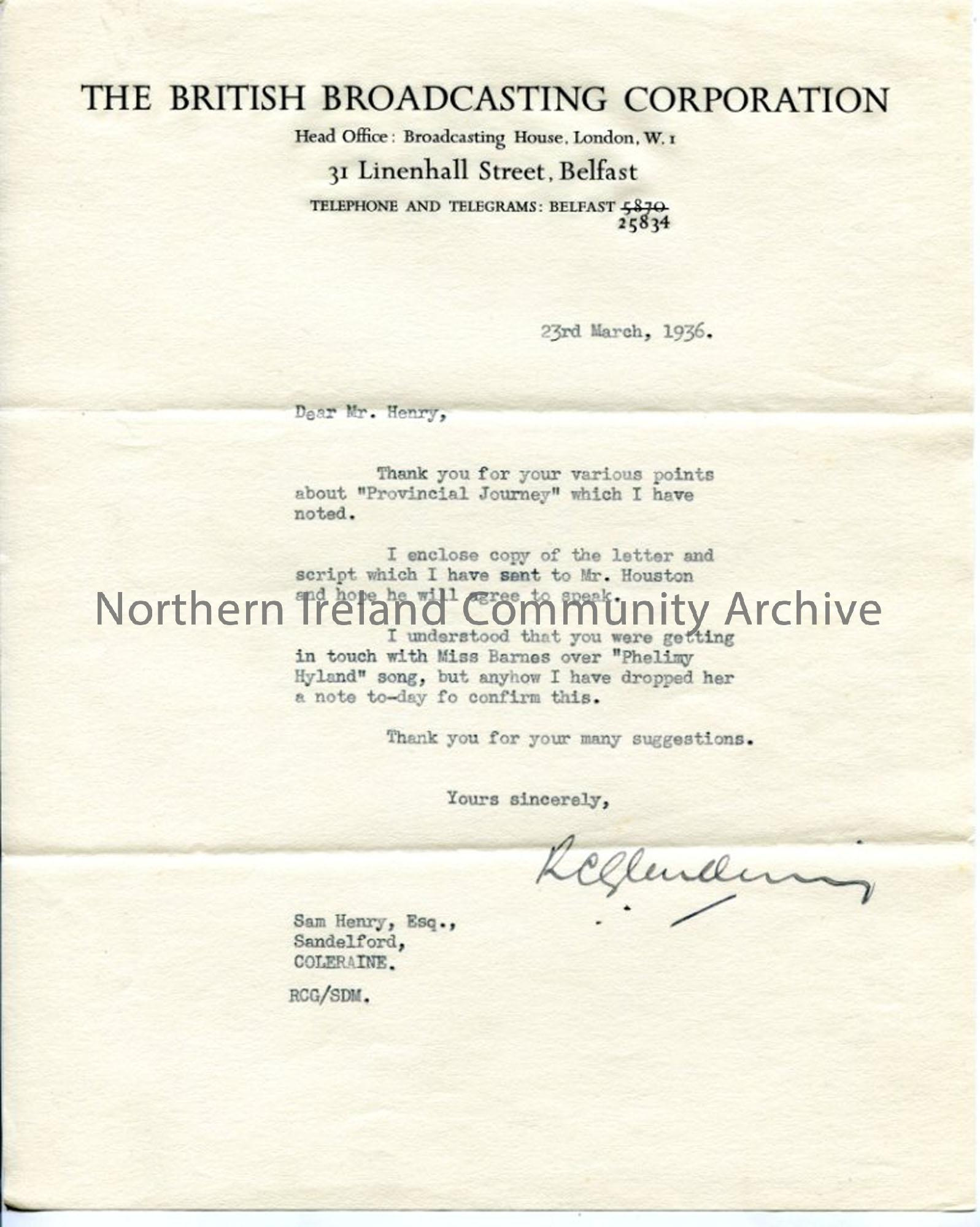 Letter from Mr Glendenning of the BBC, dated 23.3.1936