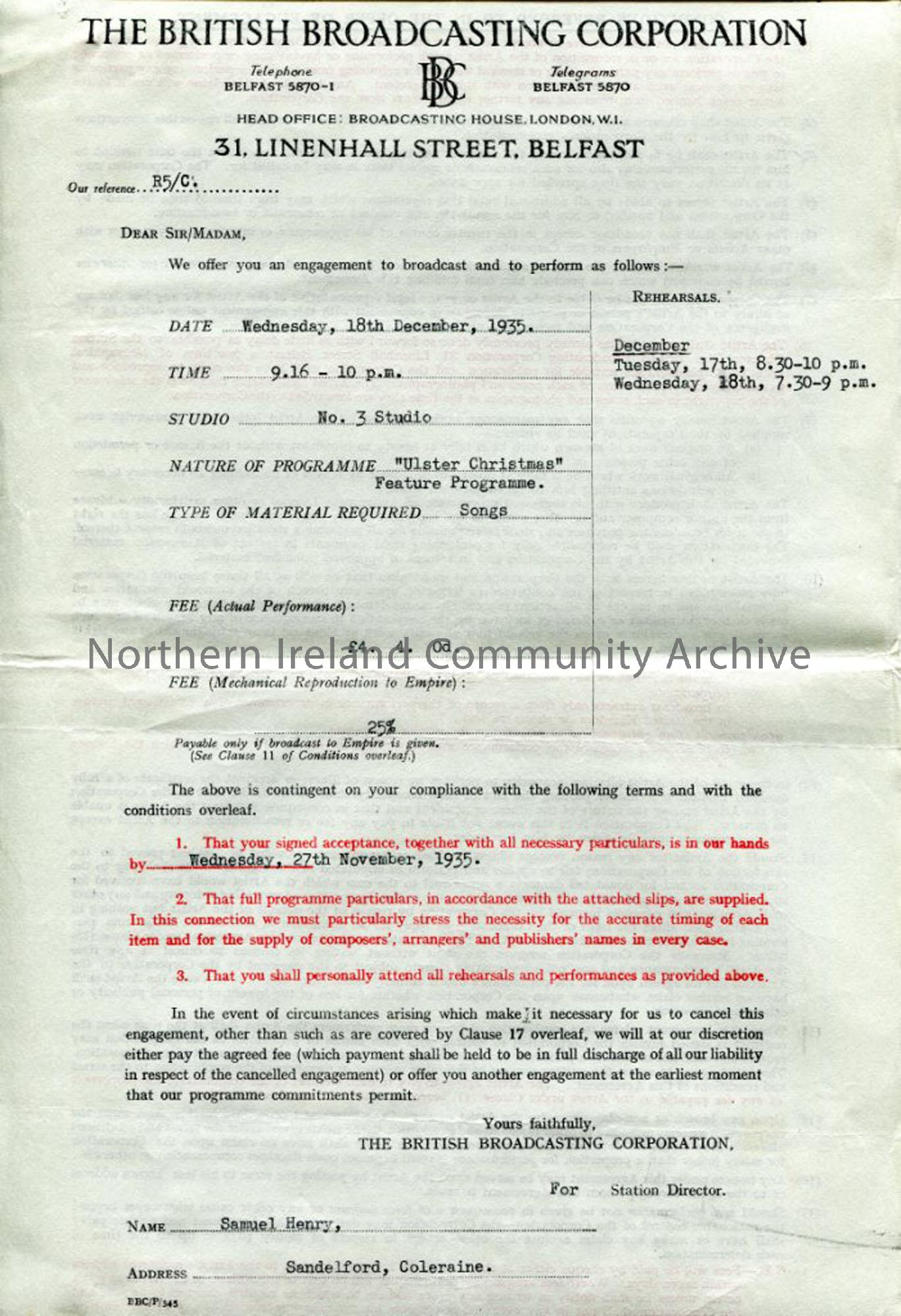 Contract from the BBC for 'Ulster Christmas' Programme