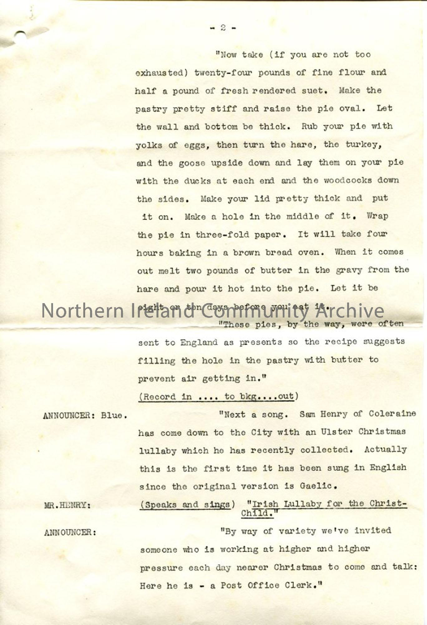 Page 2 of 6 – 'Seasonal Fare' for the 'Ulster Christmas' Programme