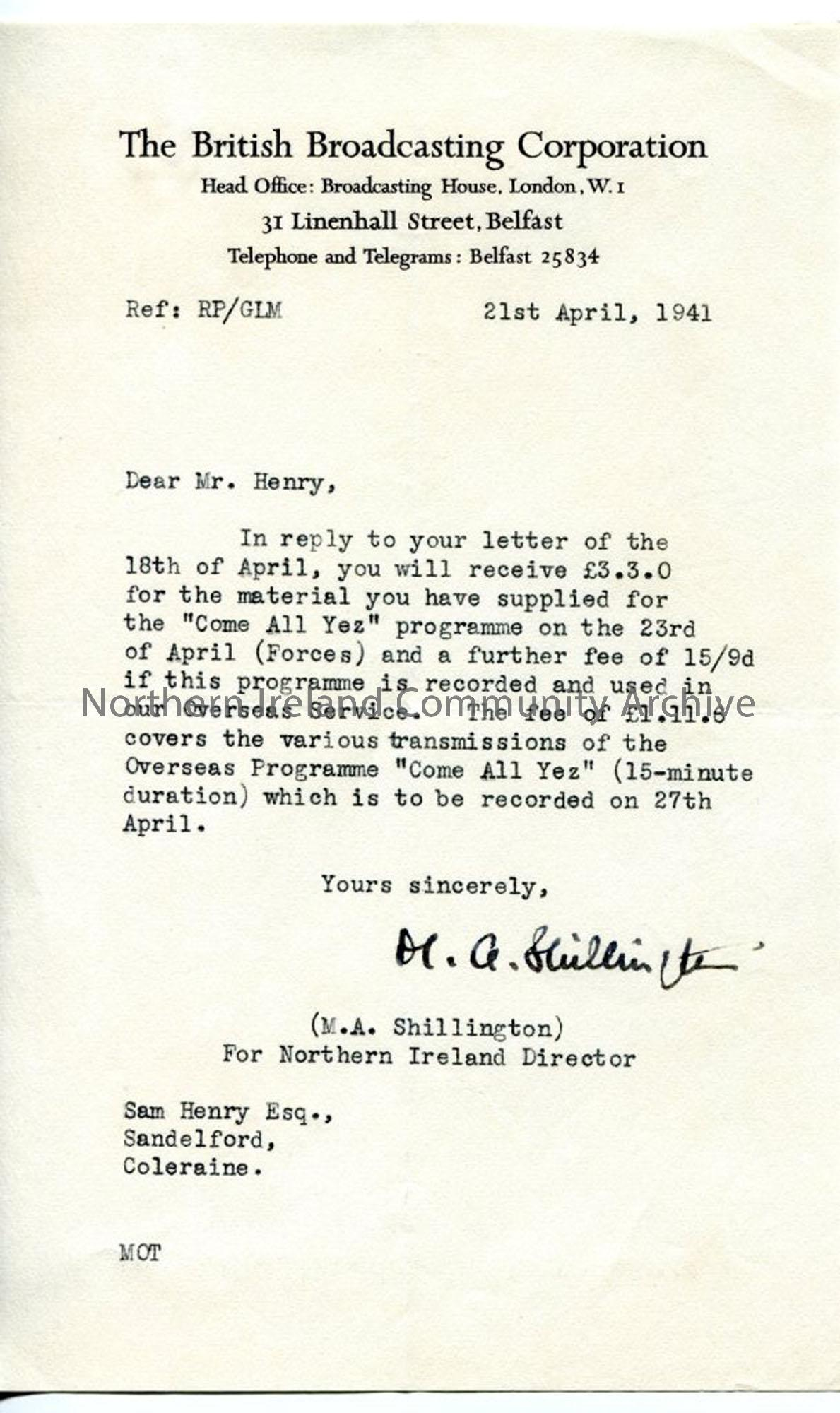 Letter from M A Shillington of the BBC, dated 21.4.1941