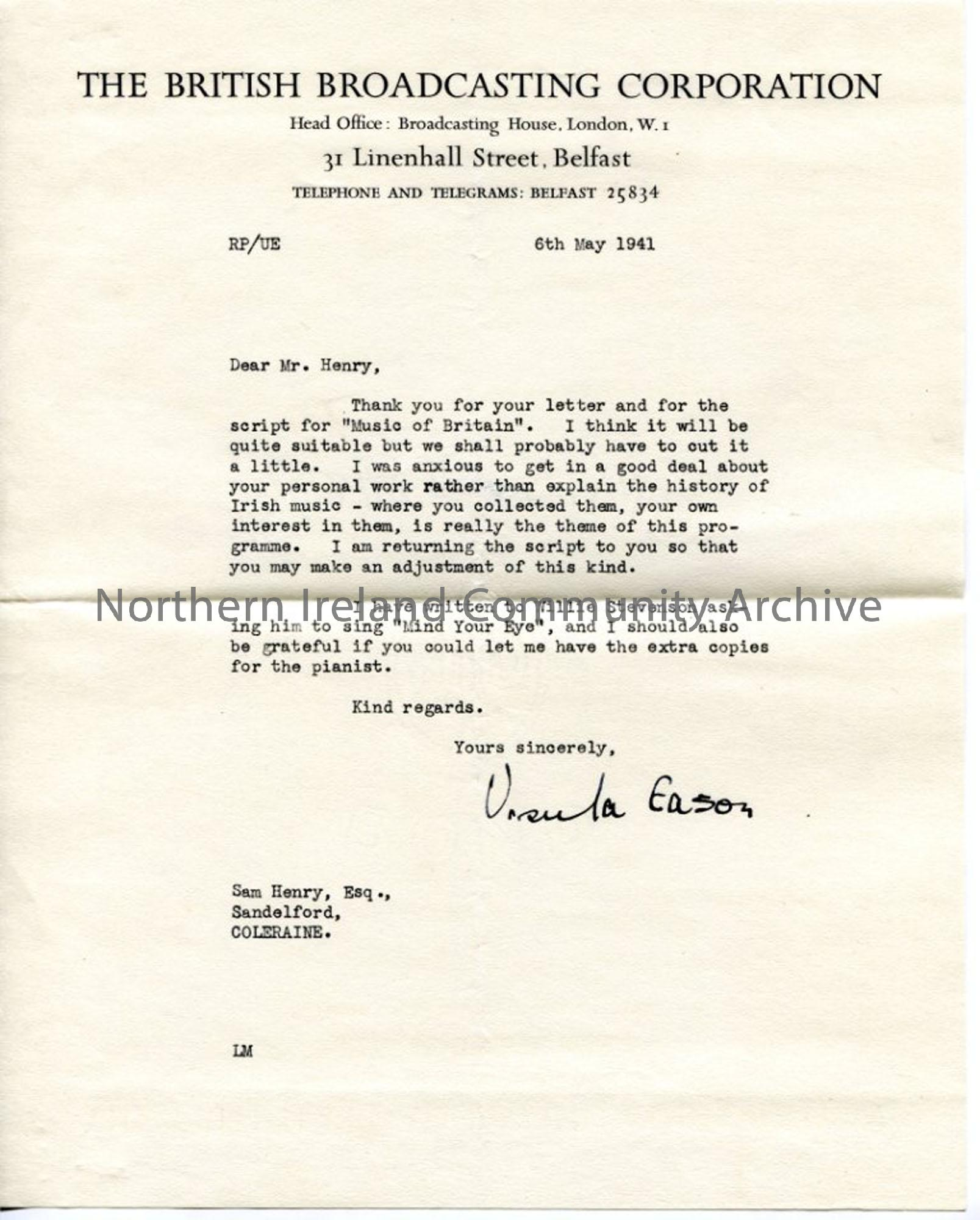 Letter from Ursula Eason of the BBC, dated 6.5.1941