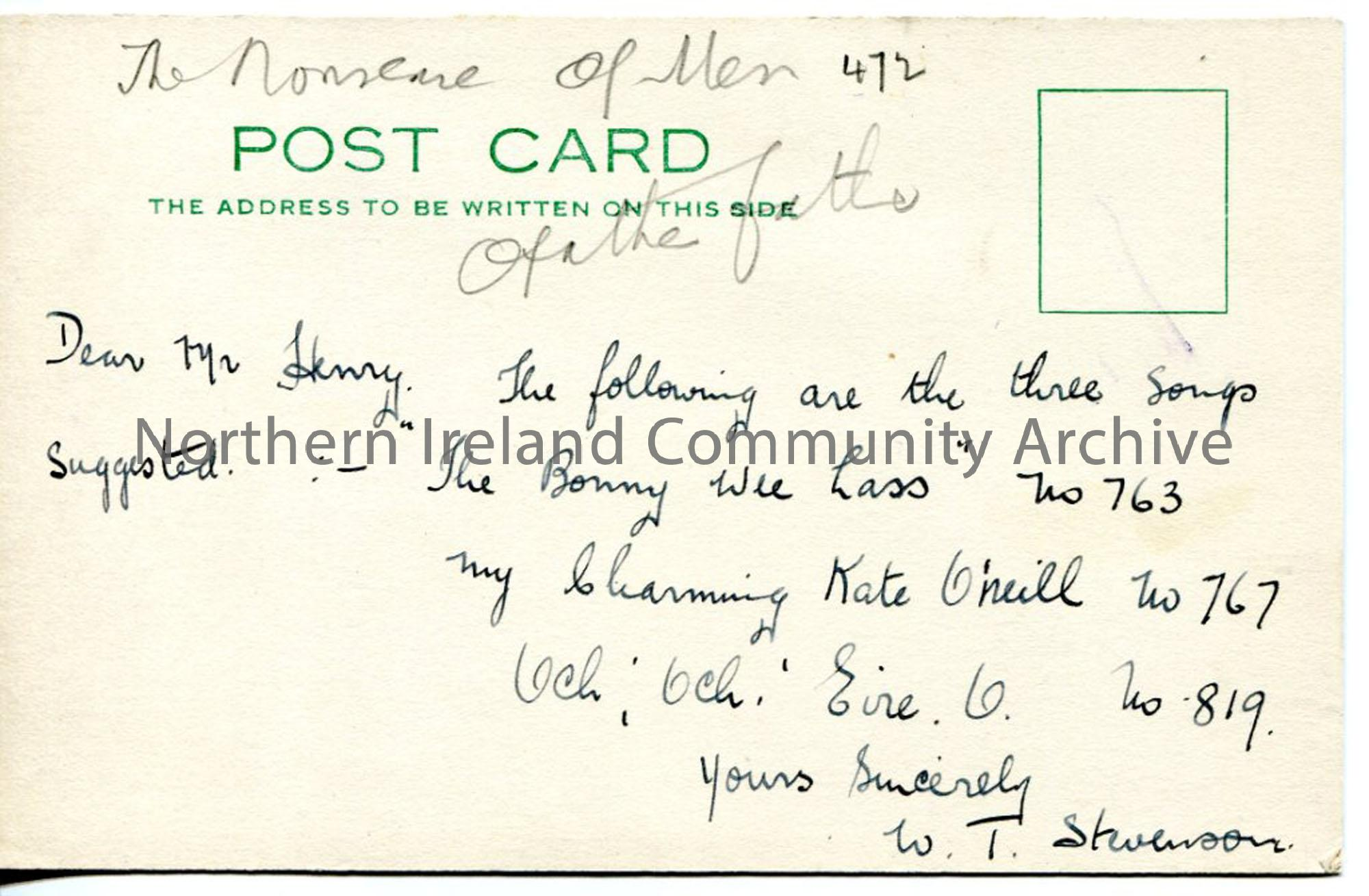 Handwritten Postcard from W T Stevenson