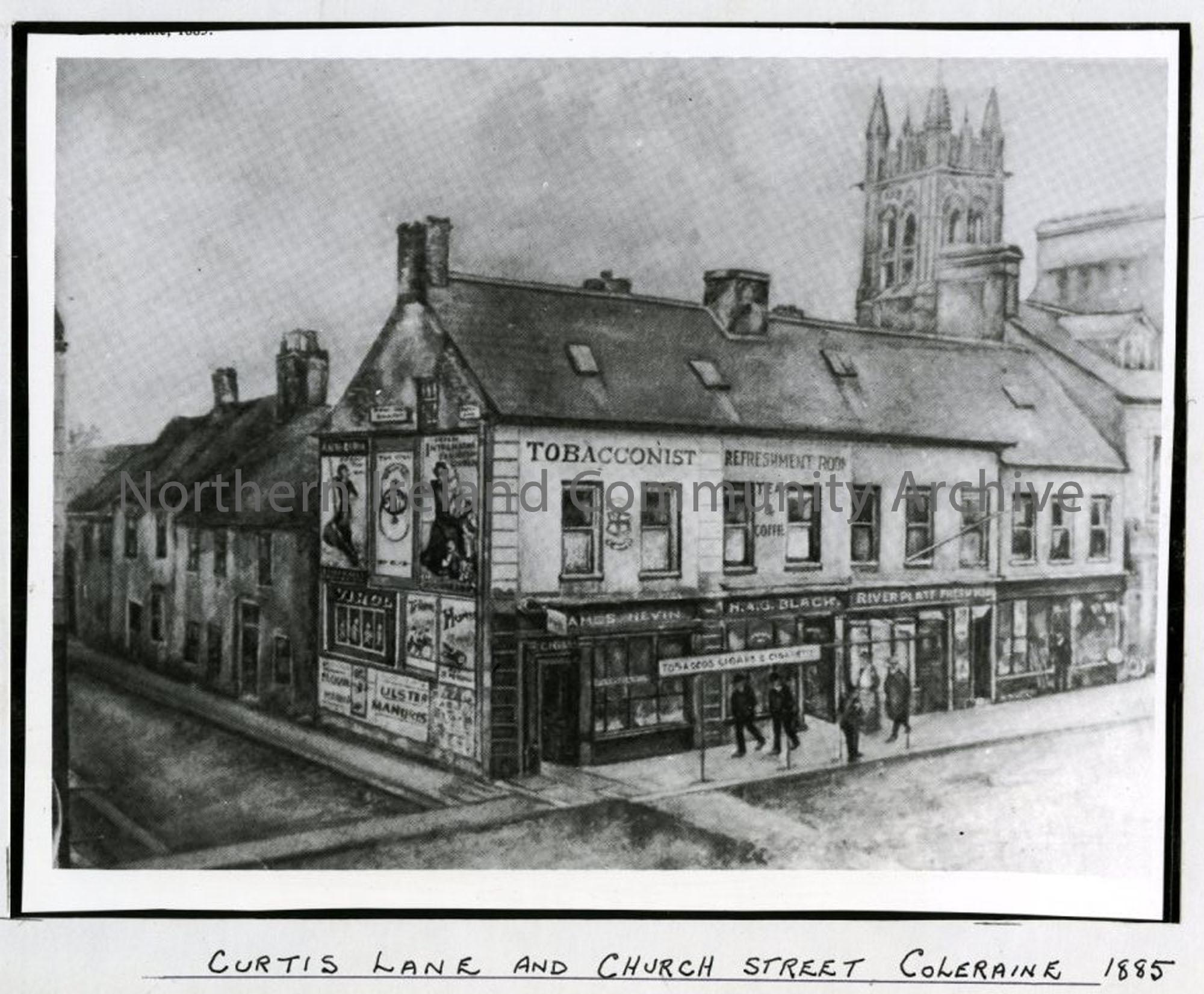 Curtis Lane and Church Street Coleraine, 1885