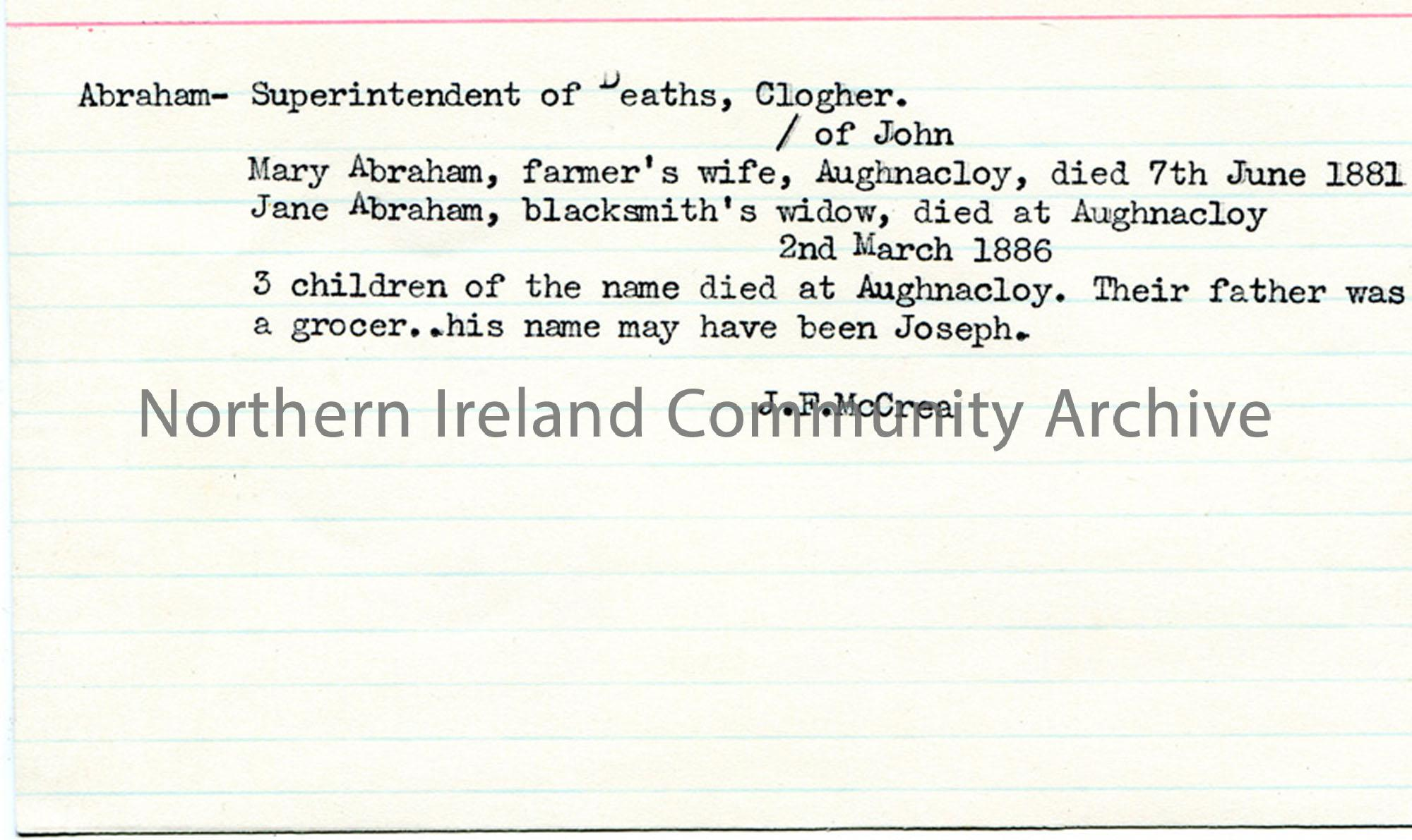Notes re Abrahams of Aughnacloy