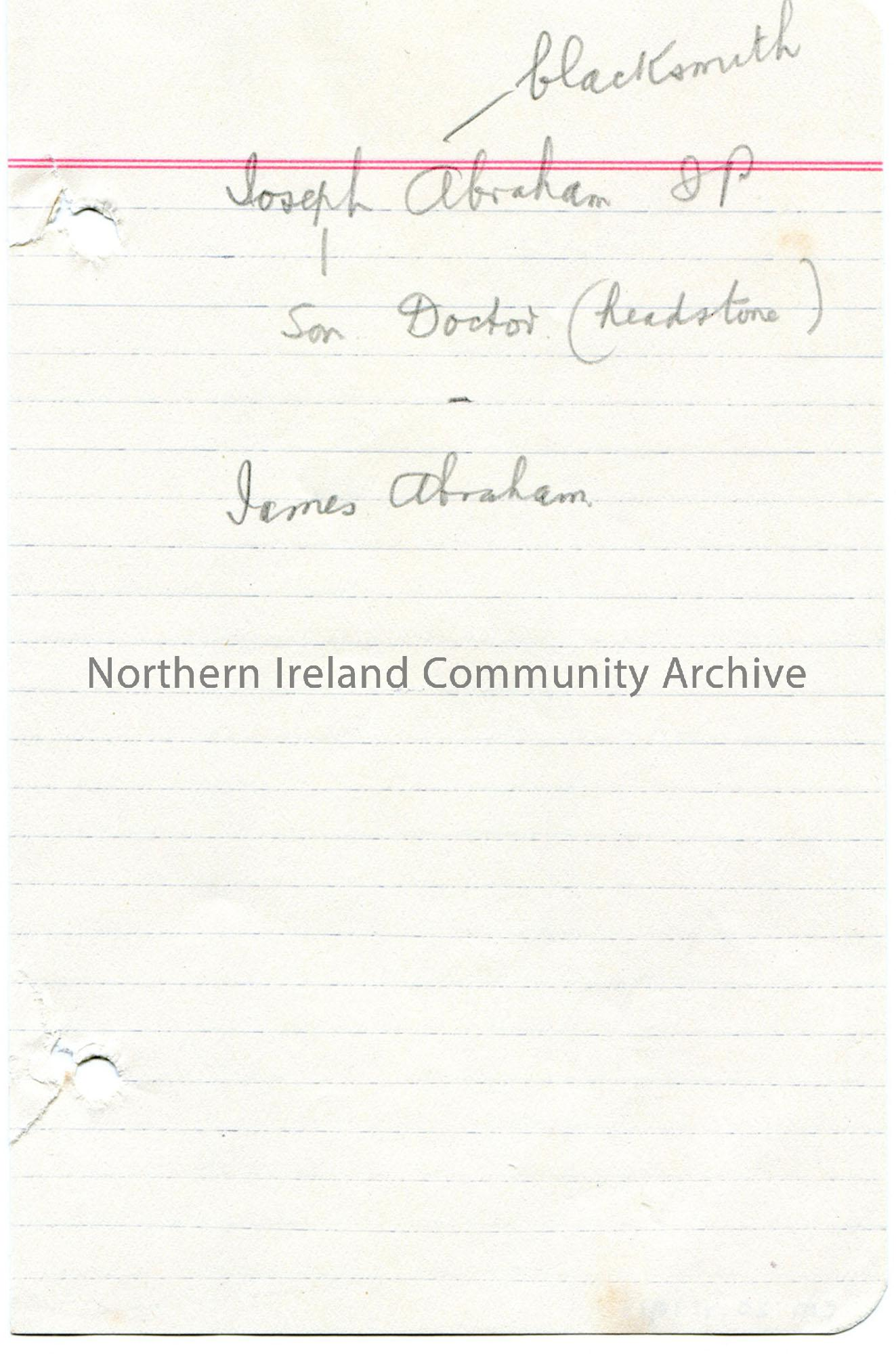 Genealogical notes re James Abraham