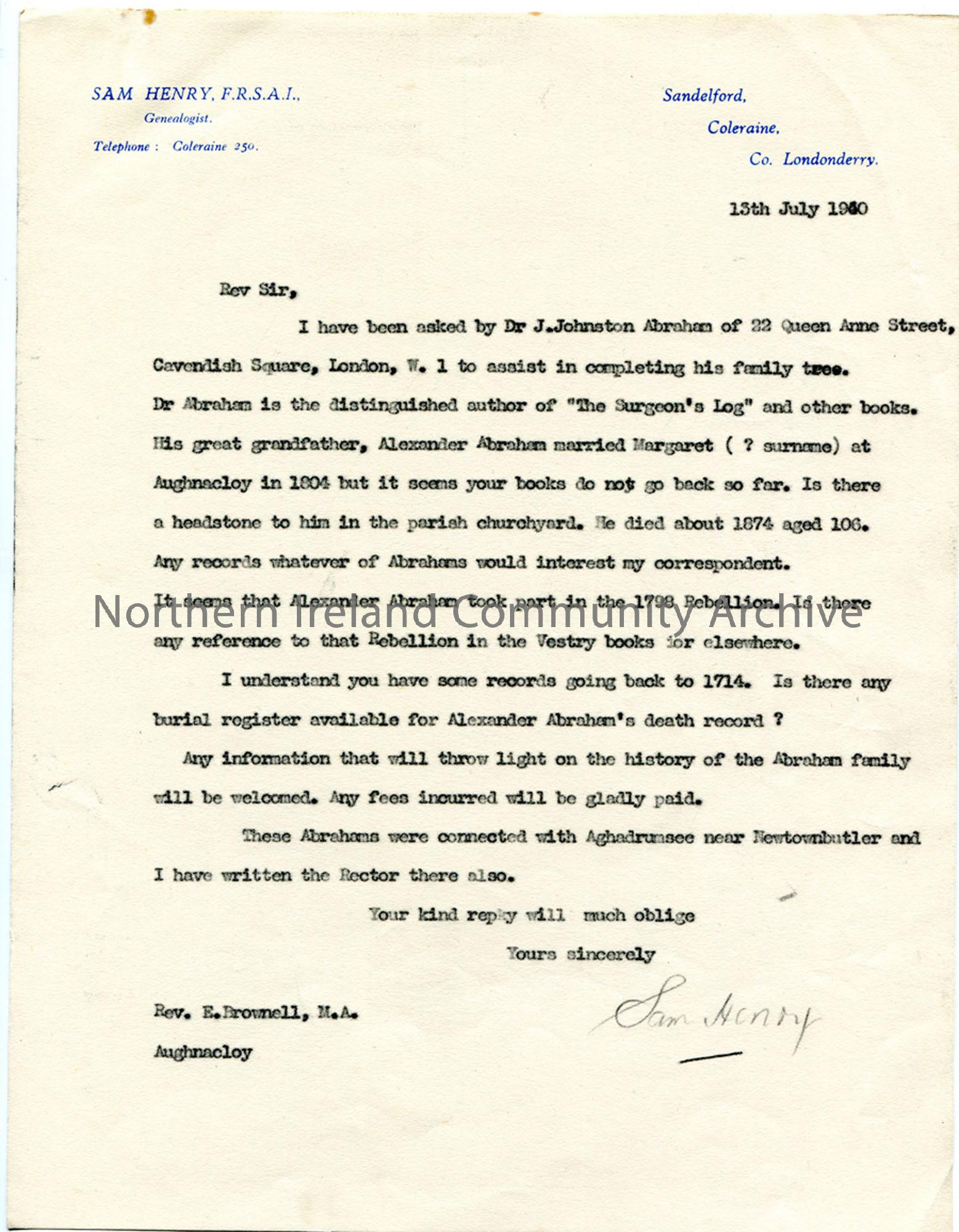 Letter to Rev. E. Brownell 13.7.1940