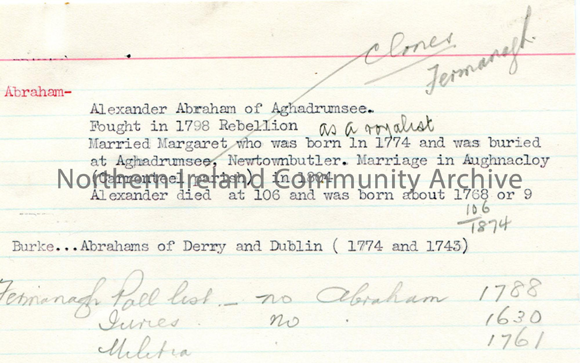 Genealogical notes re James Johnston Abraham Pt 1