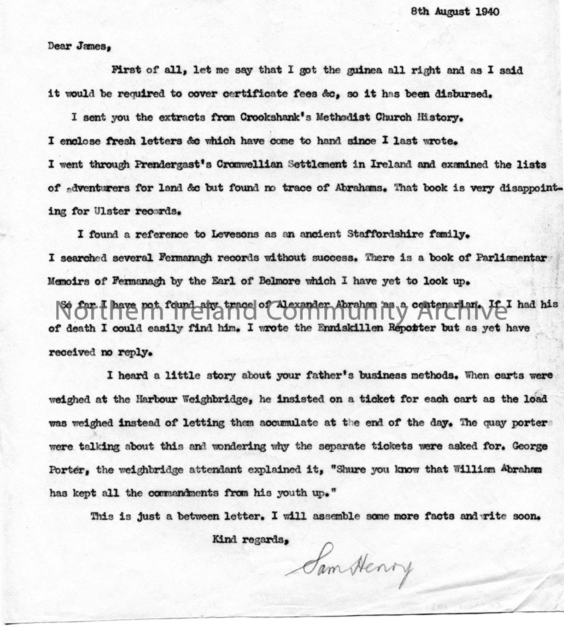 Letter to James Johnston Abraham 8.8.1940