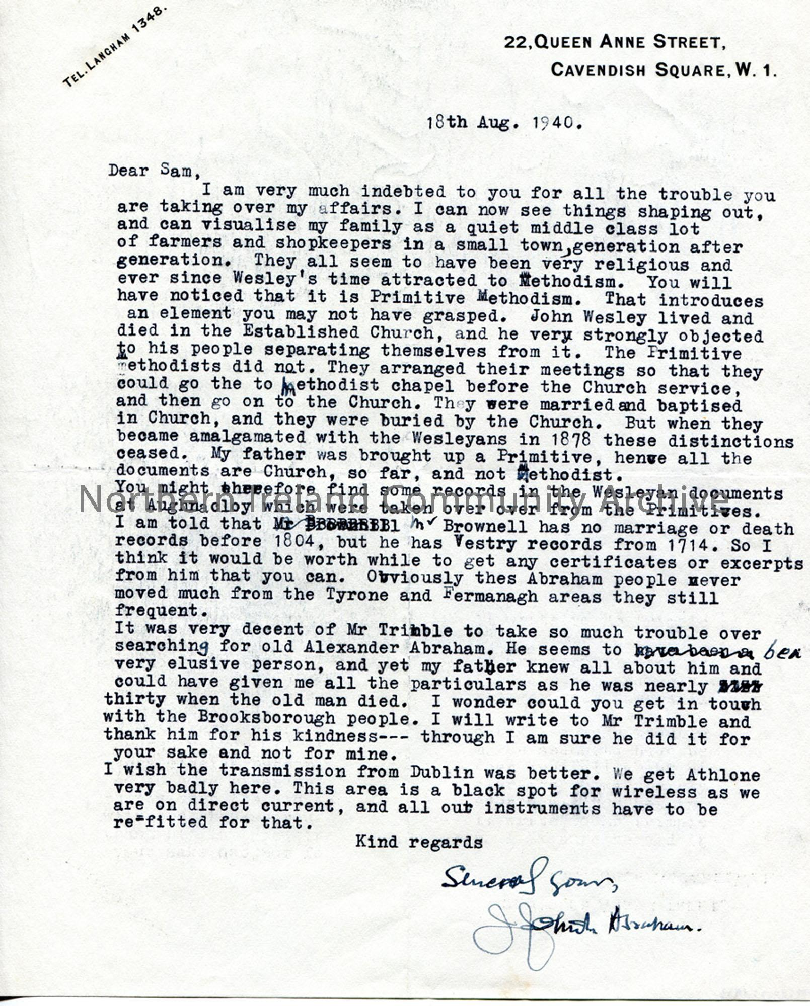 Letter from James Johnston Abraham 18.8.1940