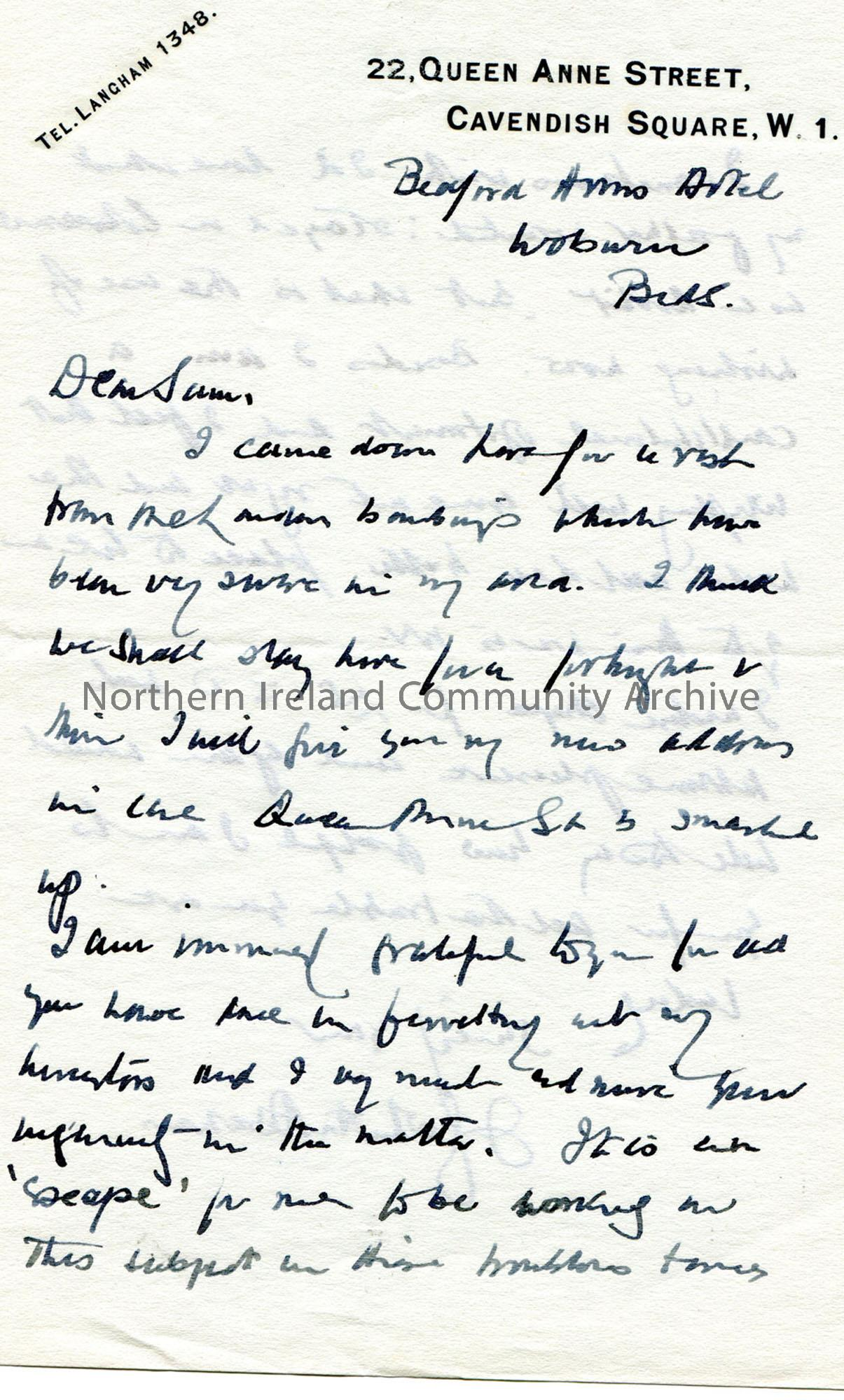 Letter from James Johnston Abraham 1940 (1)