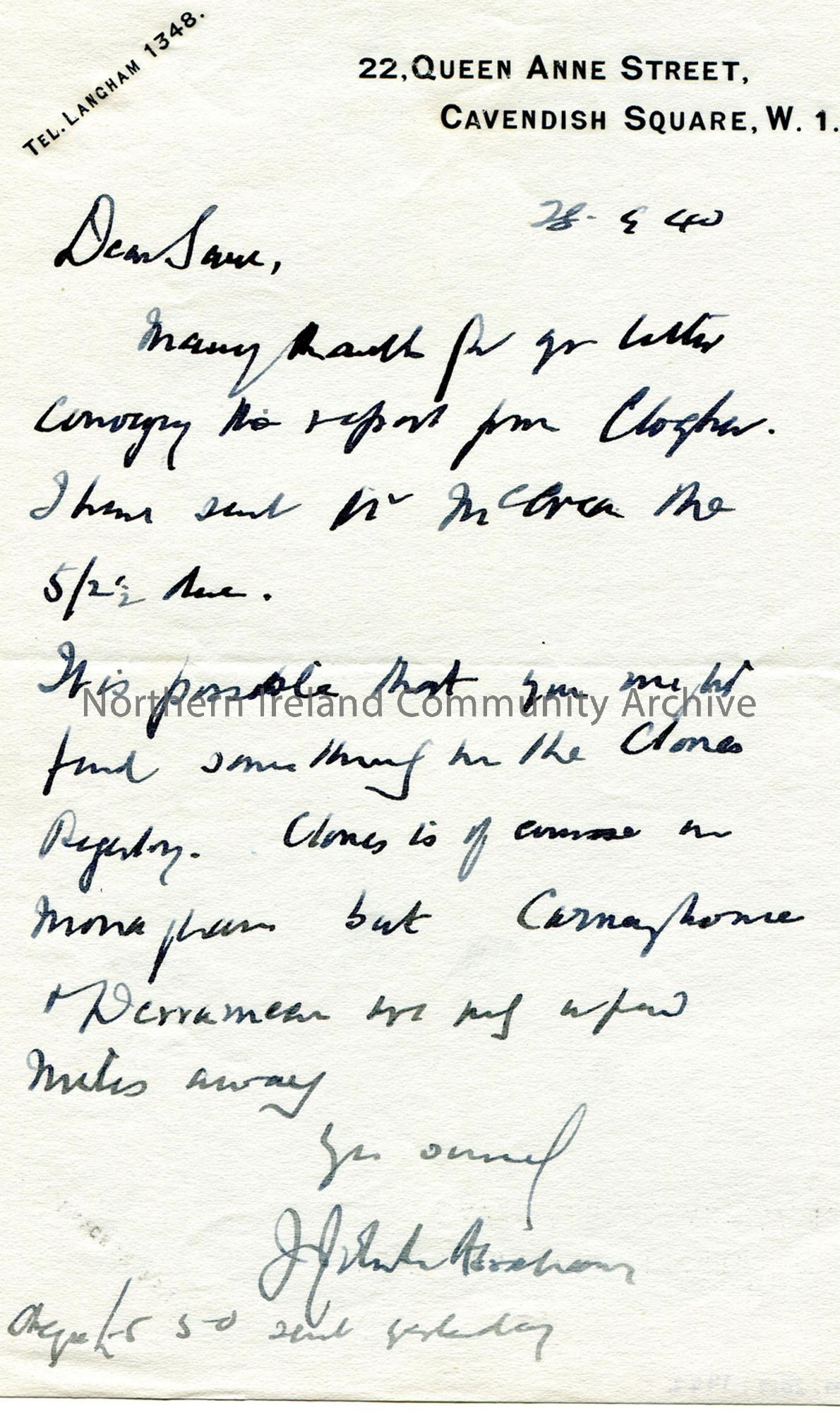Letter from James Johnston Abraham 28.9.1940